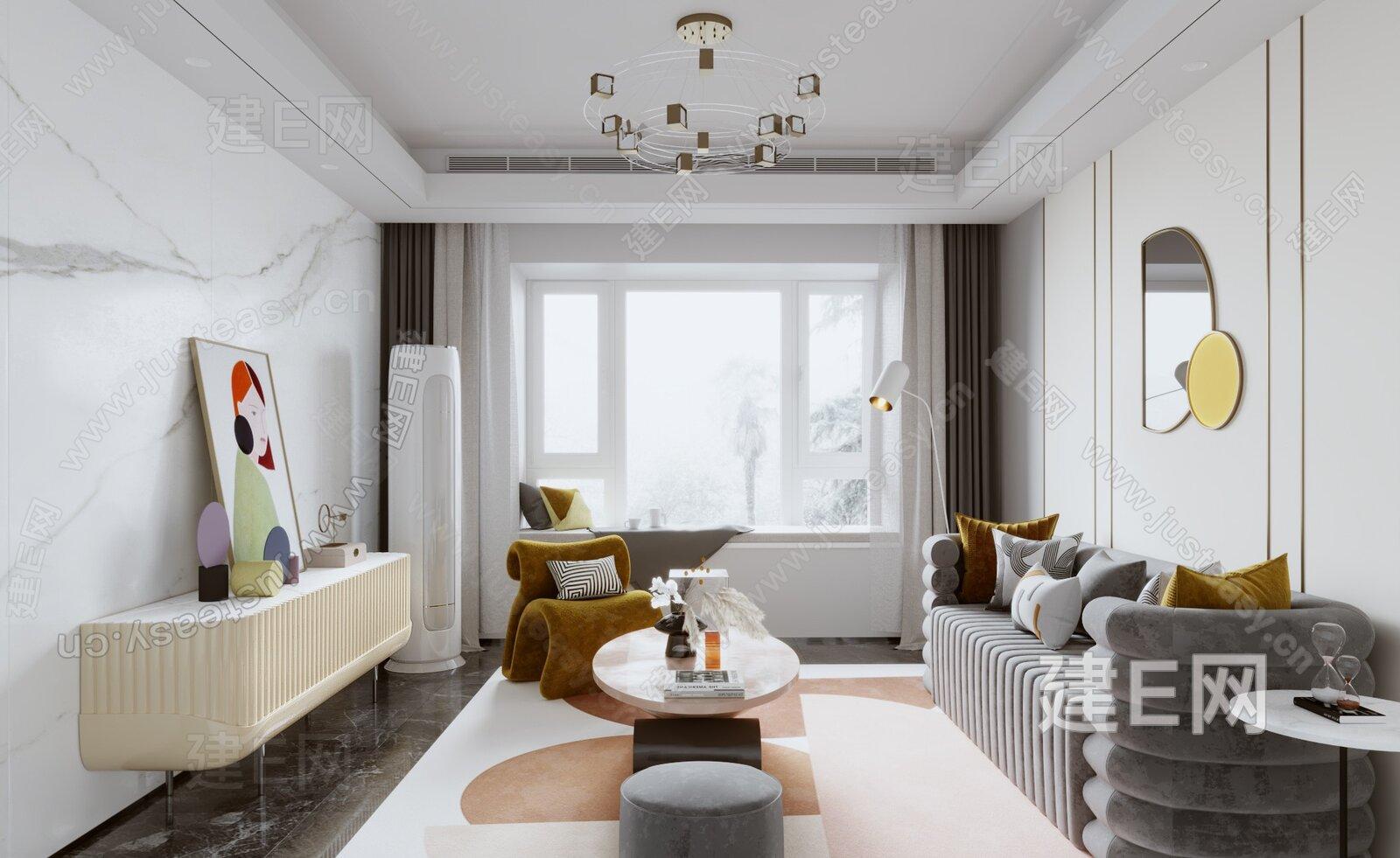 香港方黄设计 新疆河滩南样板房 现代客厅3d模型