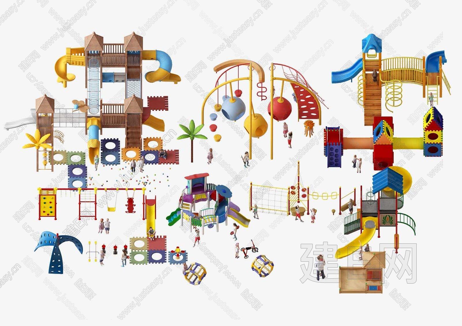 现代儿童娱乐设施器材3d模型