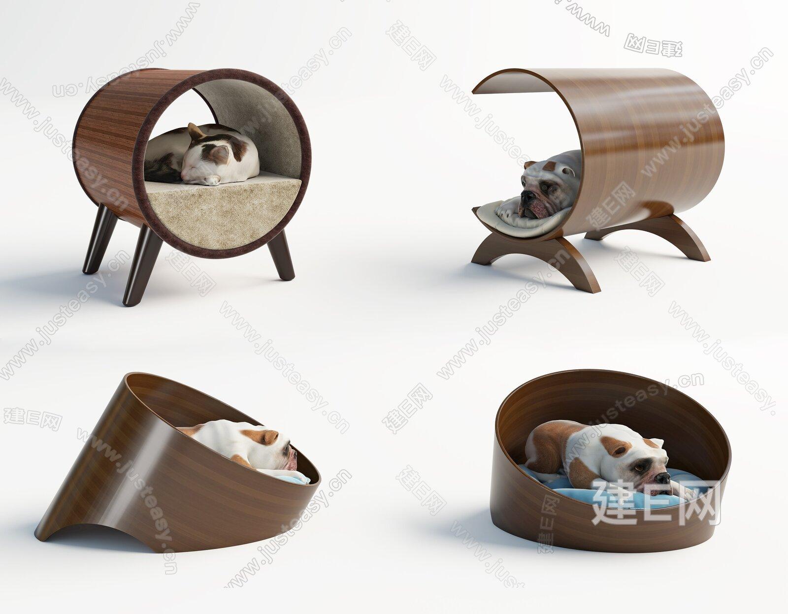 现代猫舍狗舍组合3d模型