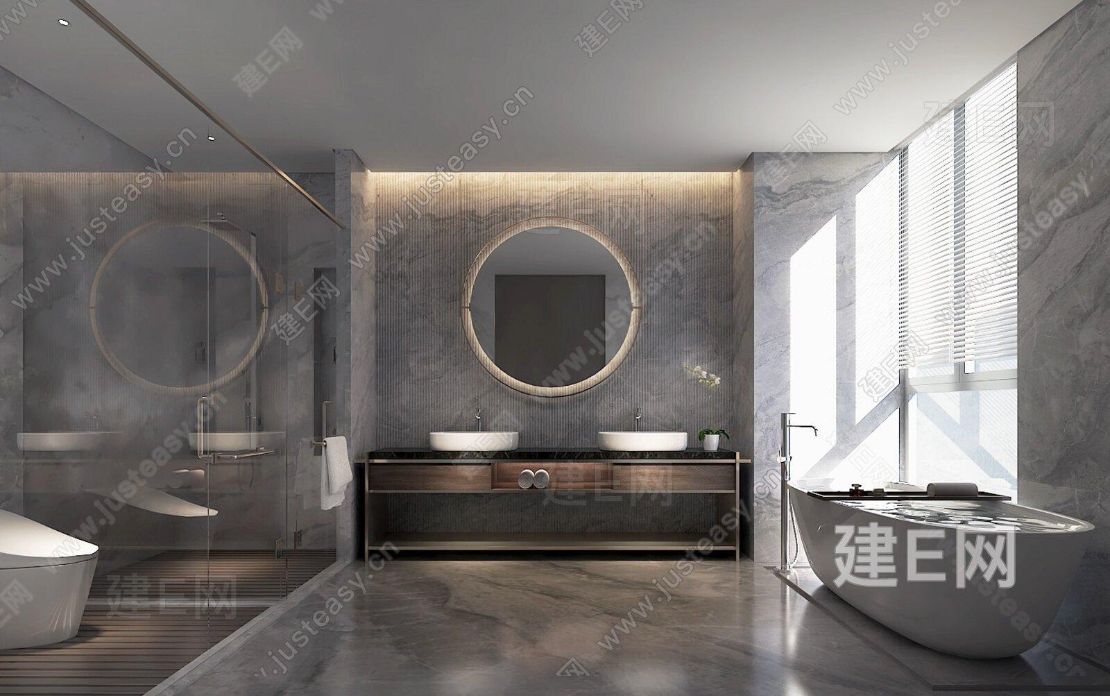 现代极简洗手间3d模型