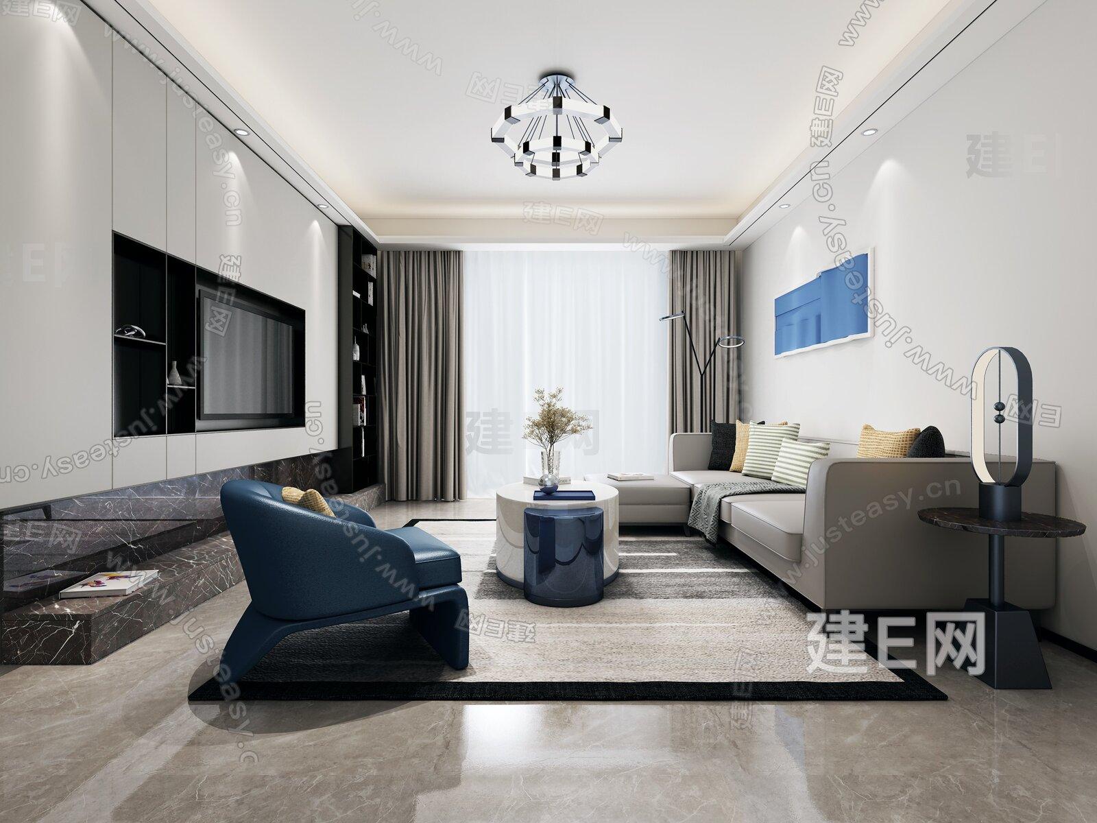 大研设计 现代客厅3d模型