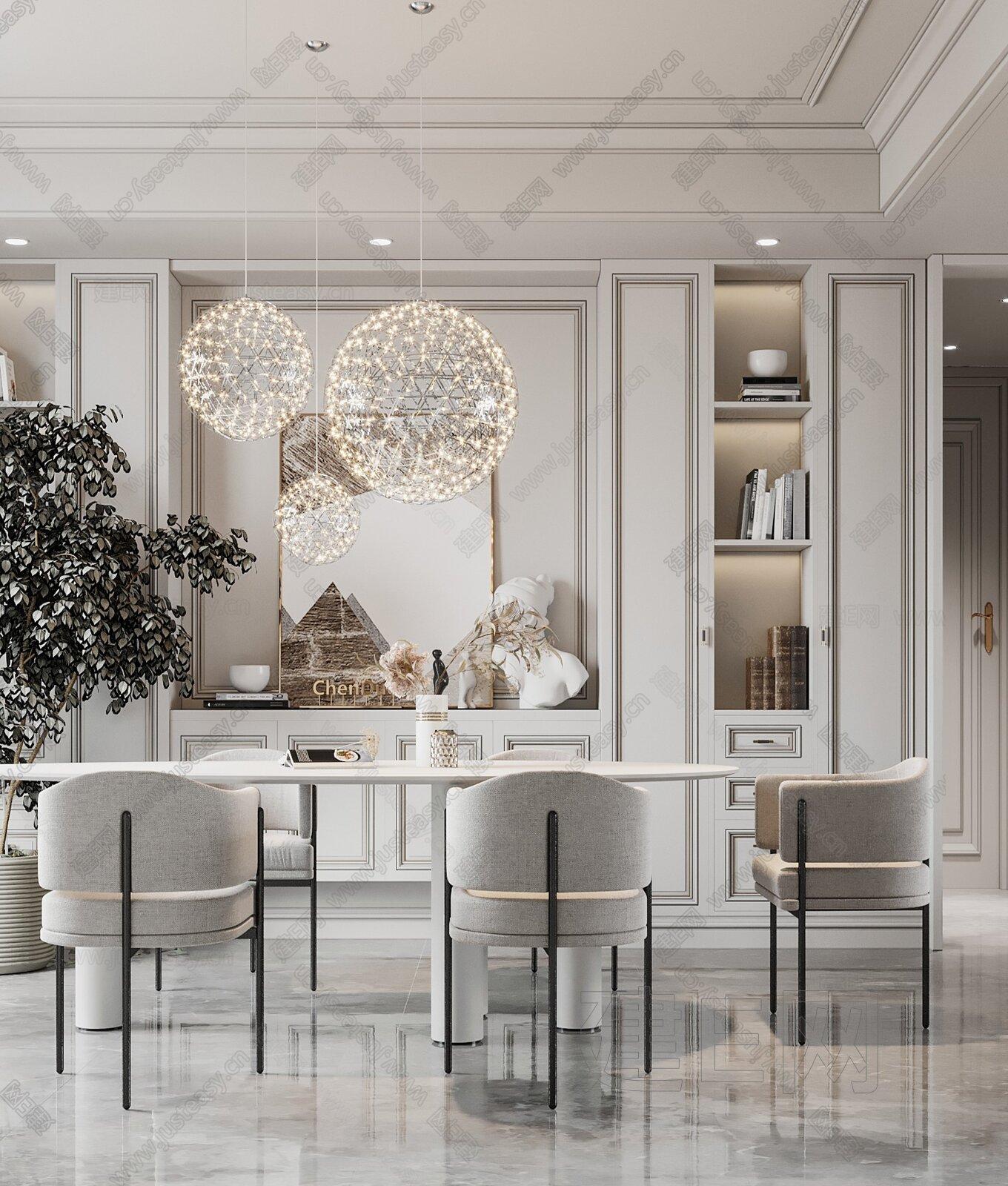 美式轻奢客餐厅3d模型