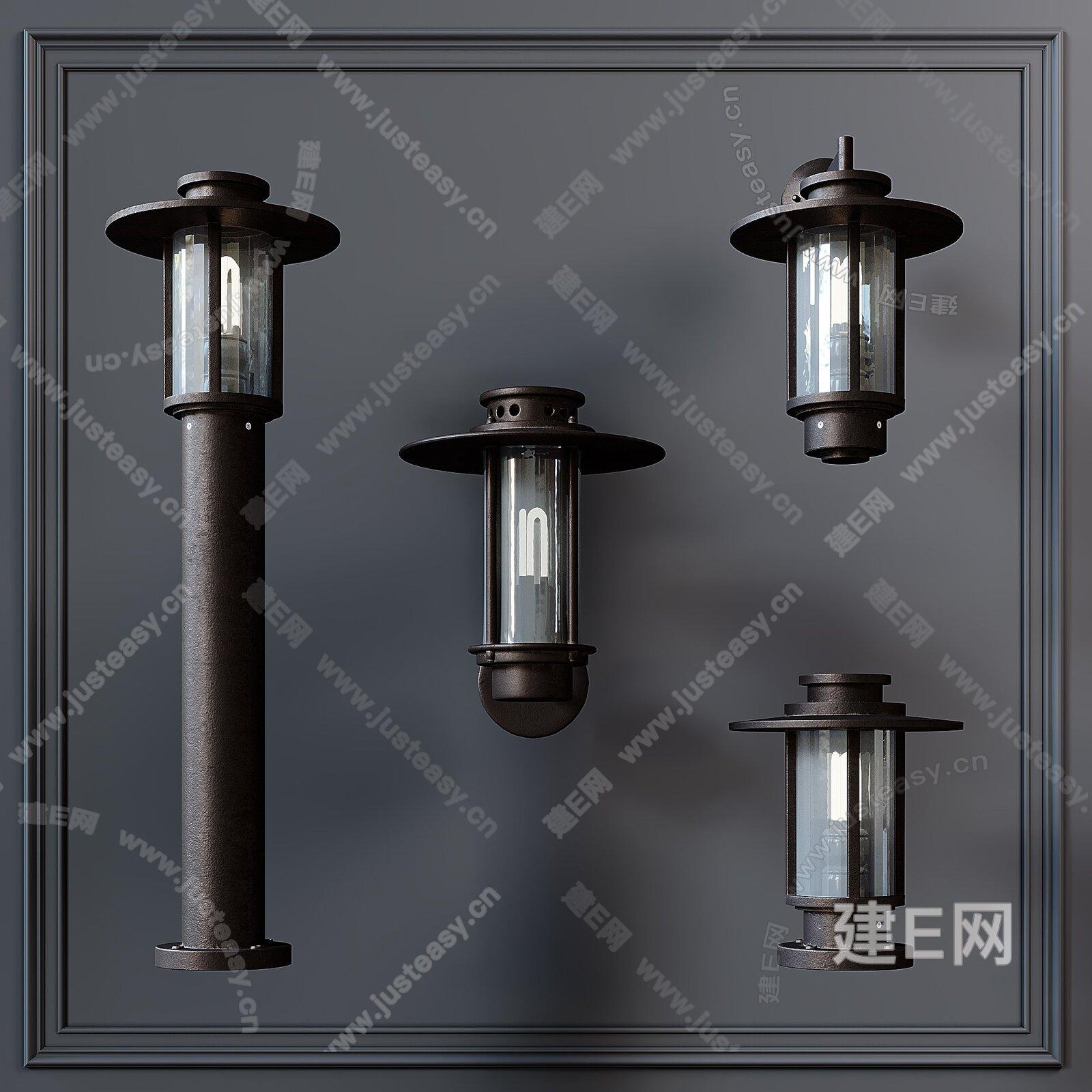 现代灯具组合3d模型