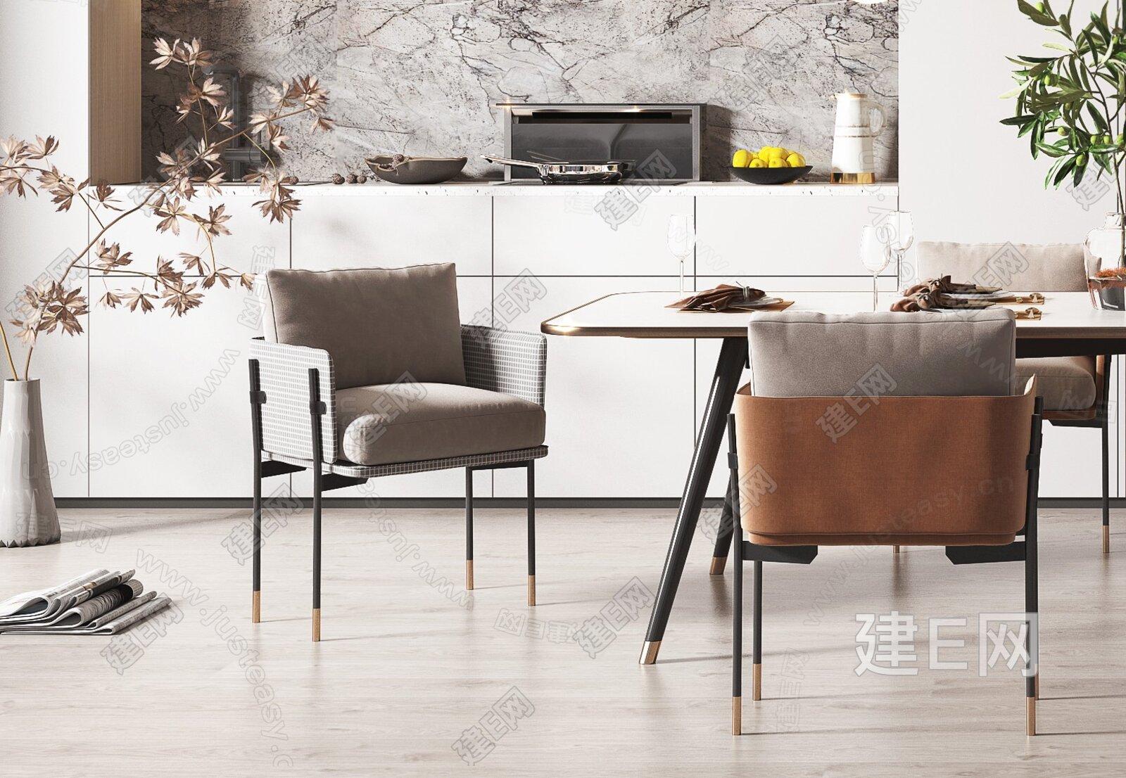 现代轻奢餐厅3d模型