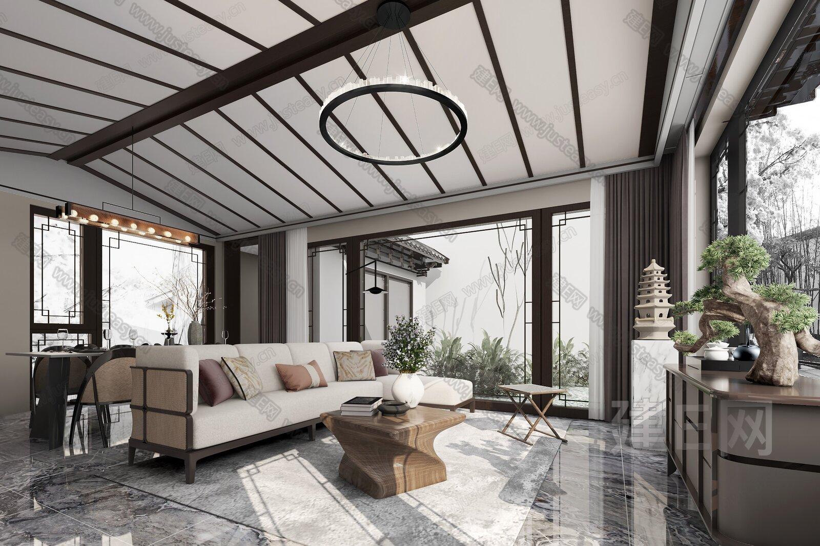 BEYOUND必扬设计  新中式客餐厅 3d模型