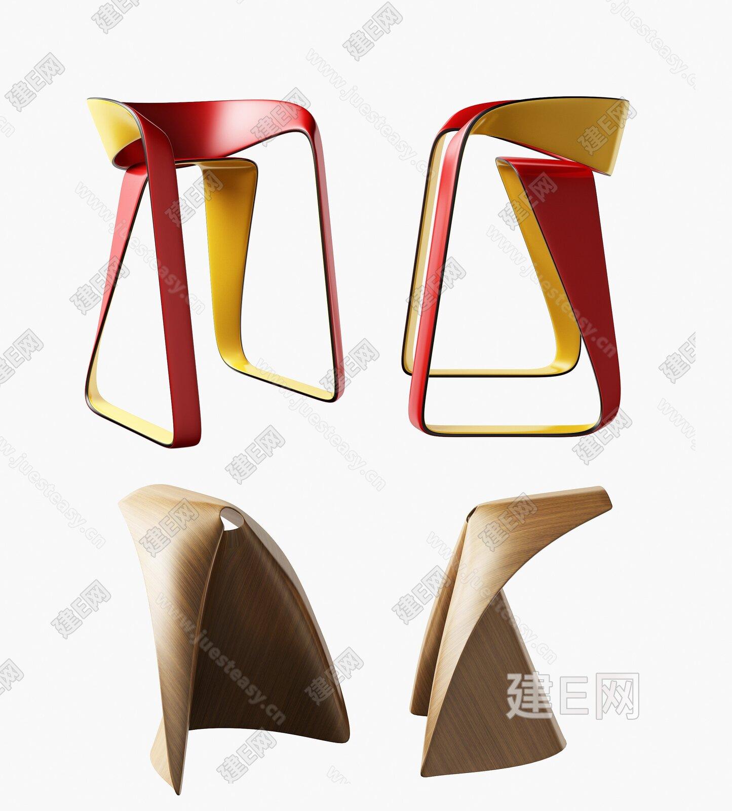 现代简约吧椅组合3d模型