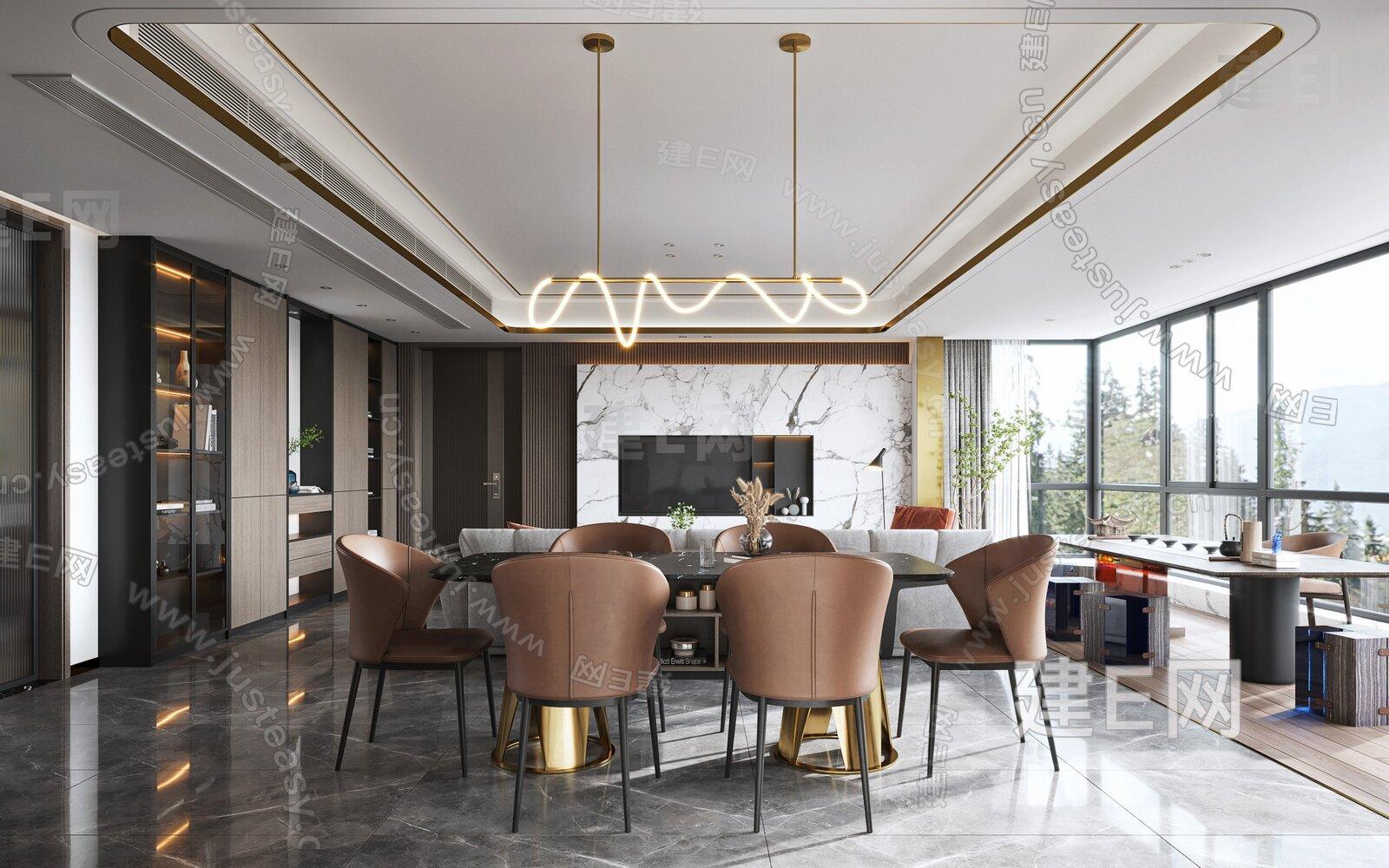 现代轻奢客餐厅3d模型