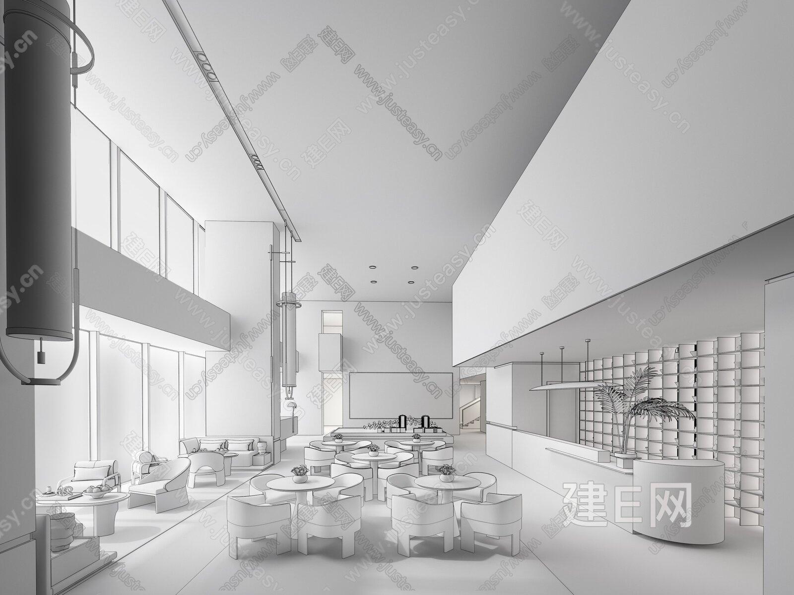 黄全|集艾设计 现代售楼处洽谈区 3d模型
