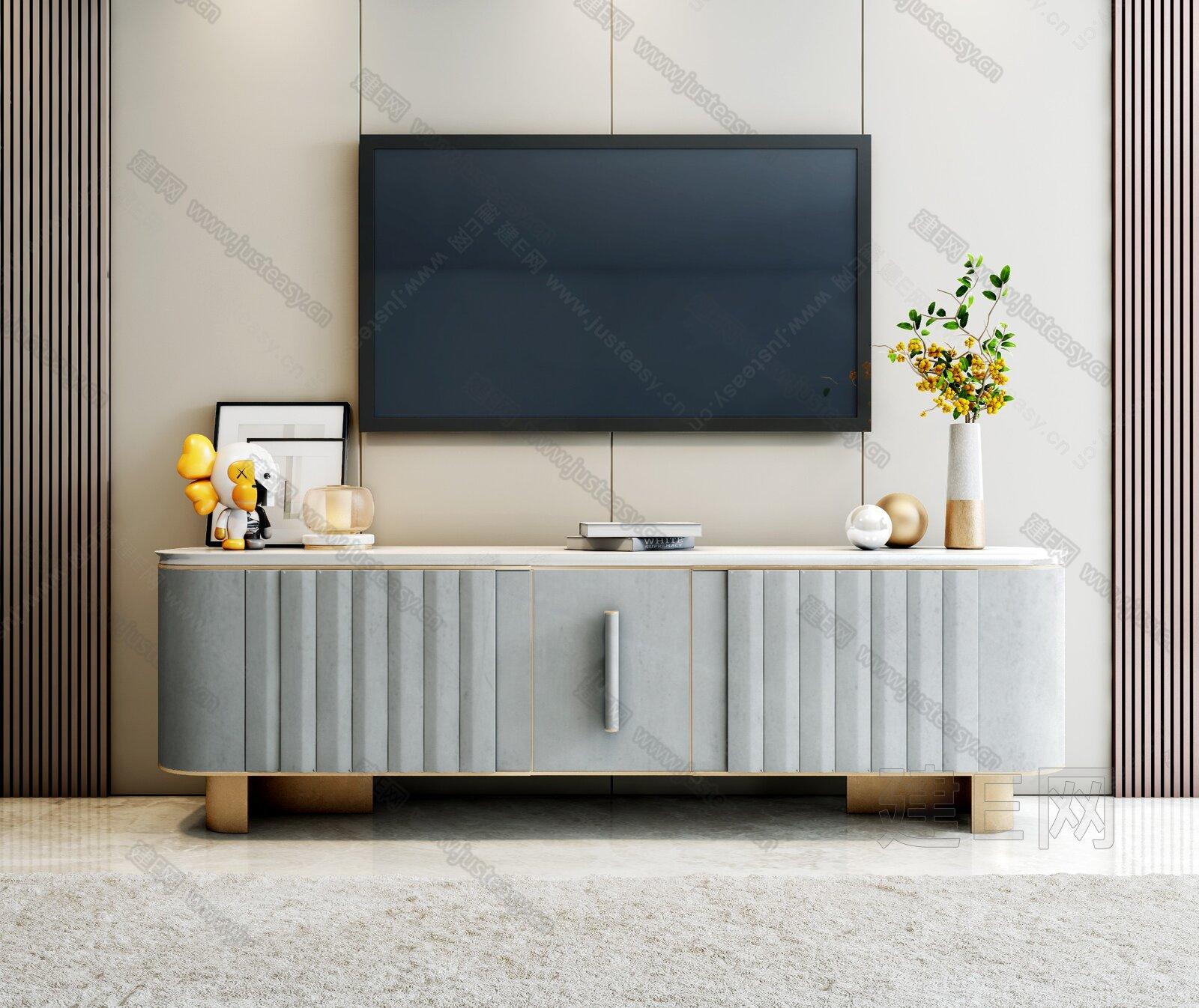 现代轻奢电视柜饰品组合3d模型