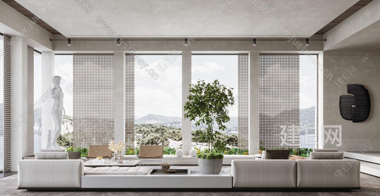 现代轻奢开放式客厅3d模型