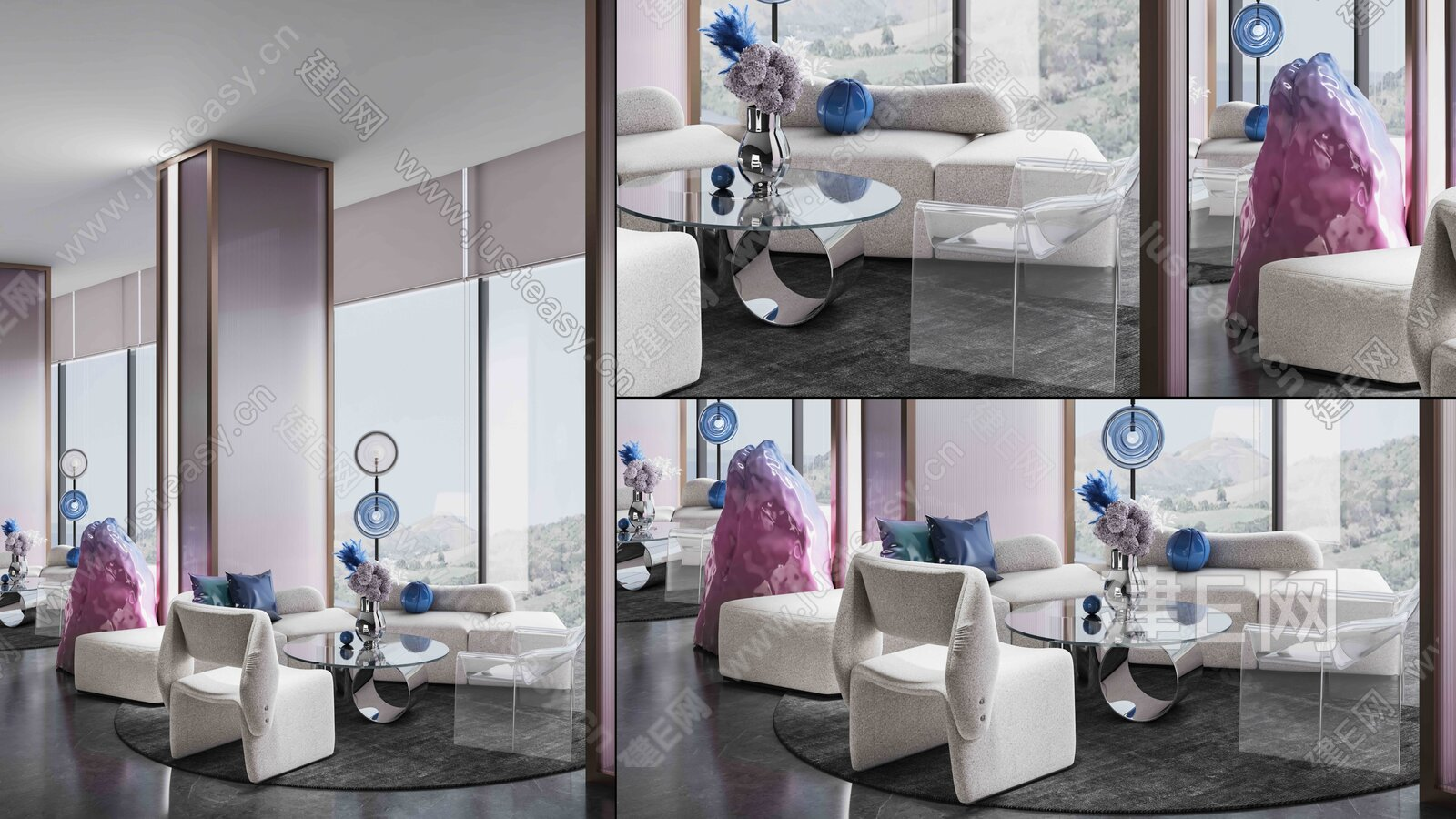 现代售楼处休息区3d模型