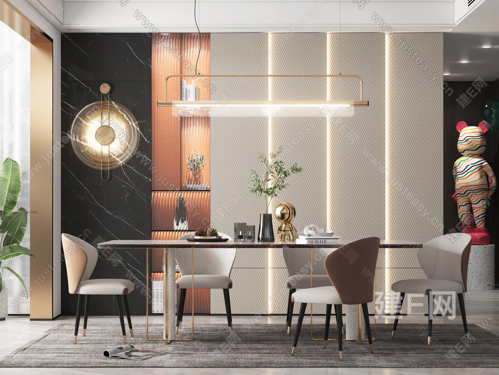 现代简约餐厅 3d模型