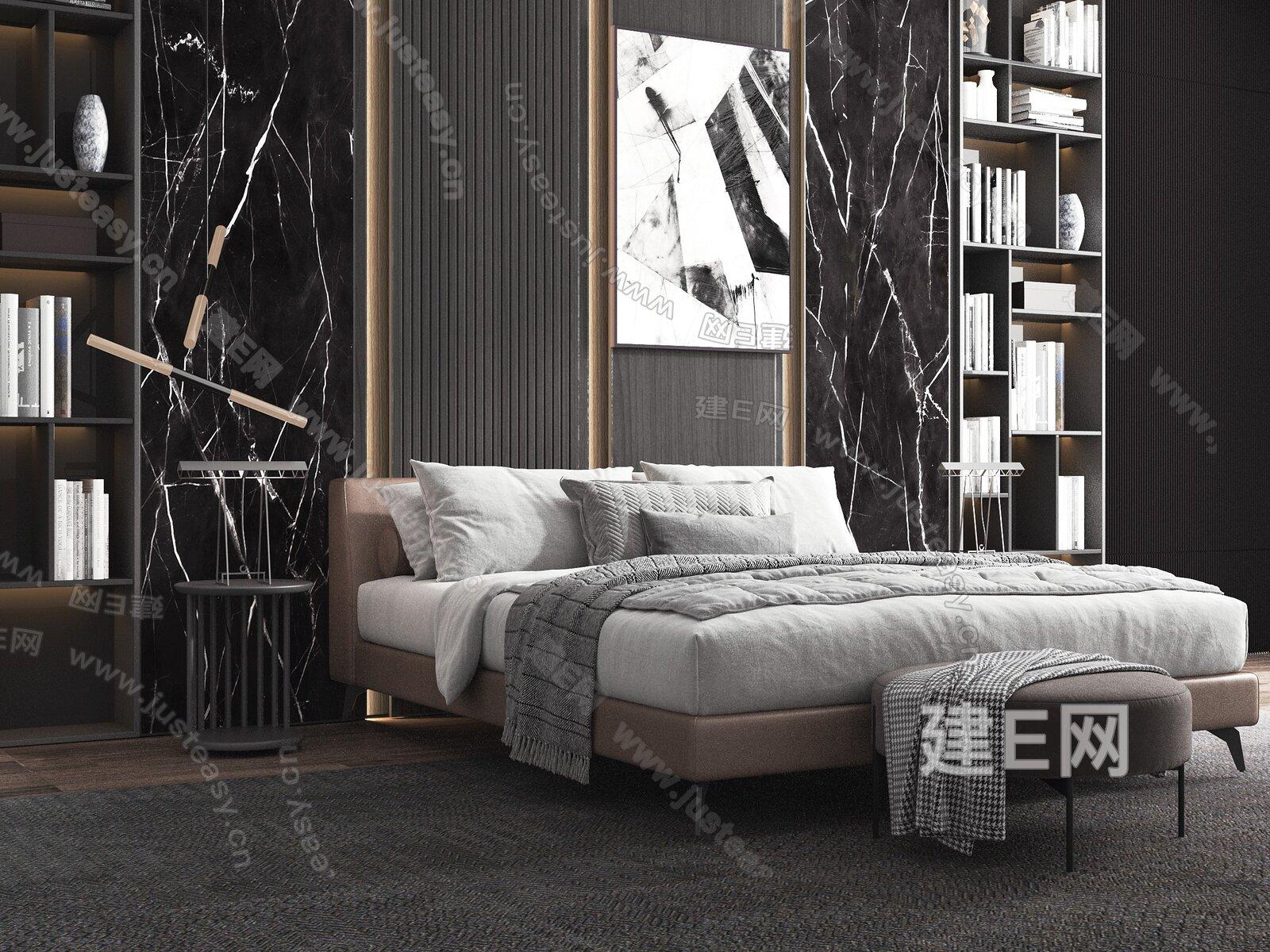 Meridiani 现代双人床3d模型