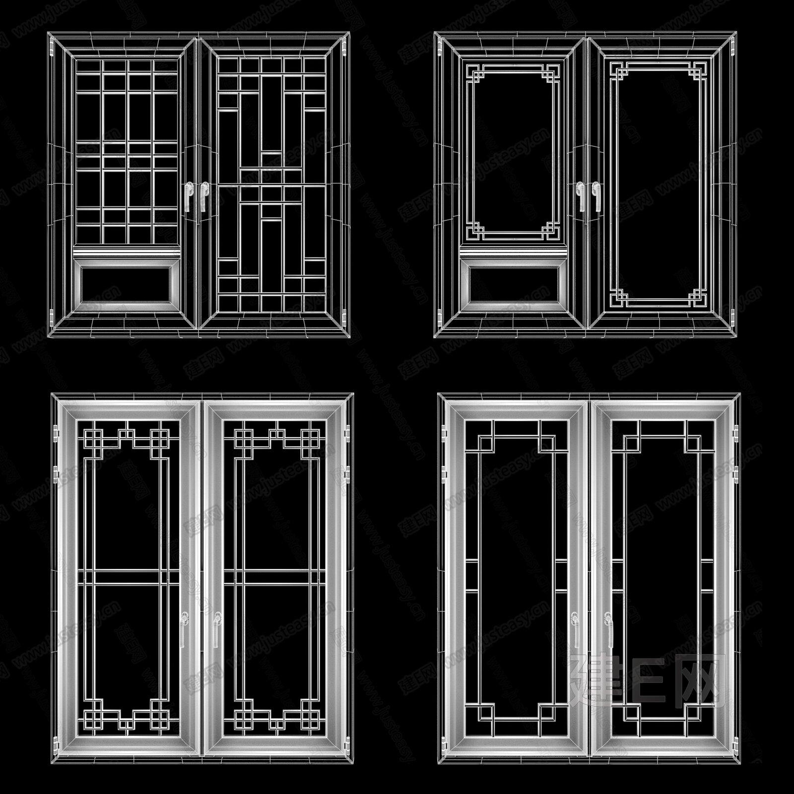 新中式窗组合3d模型