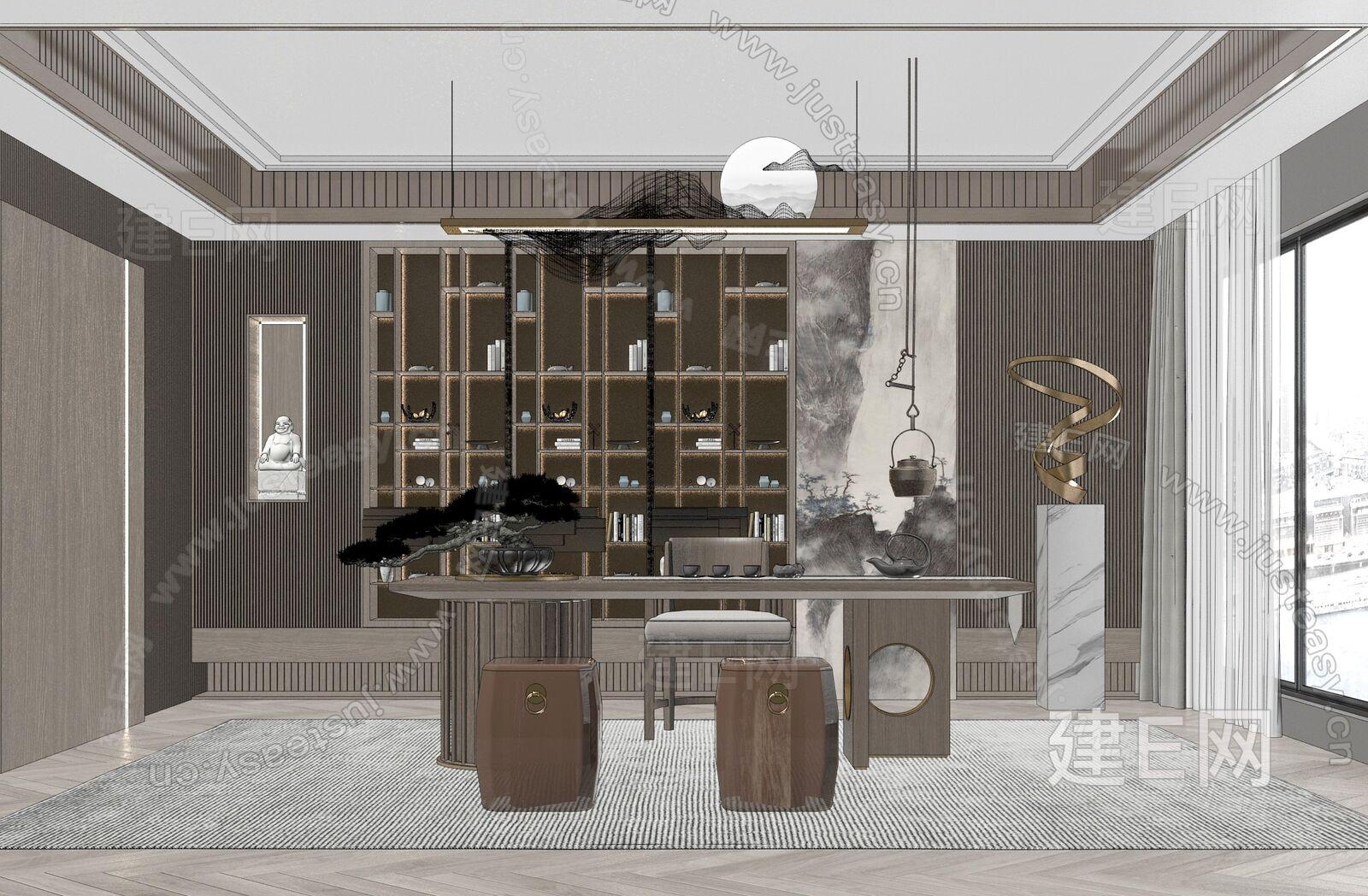新中式茶室sketchup模型