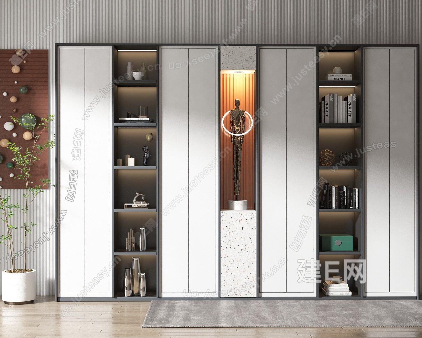 现代风格书柜3d模型