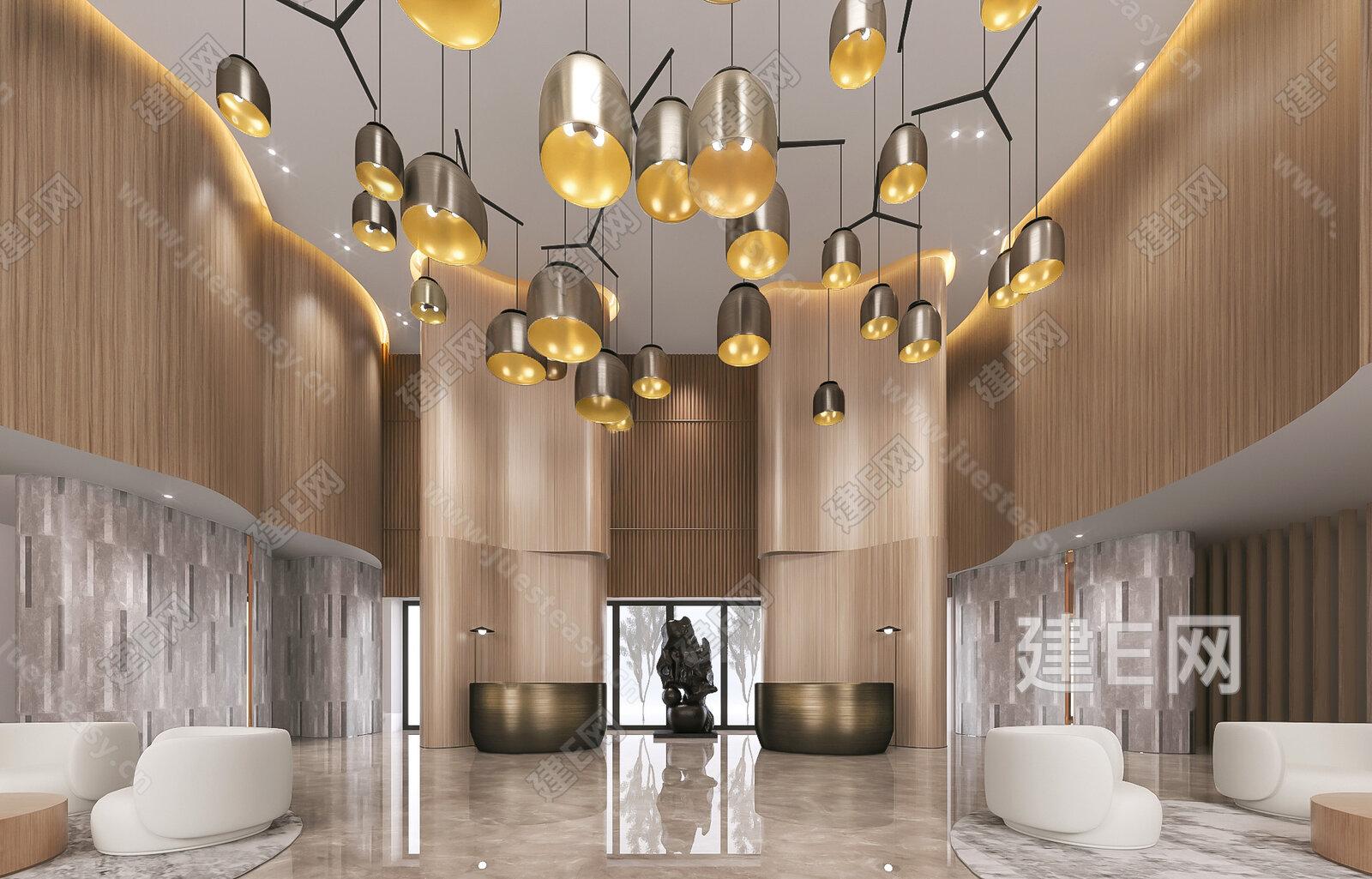 牧笛设计 现代售楼处接待区3d模型
