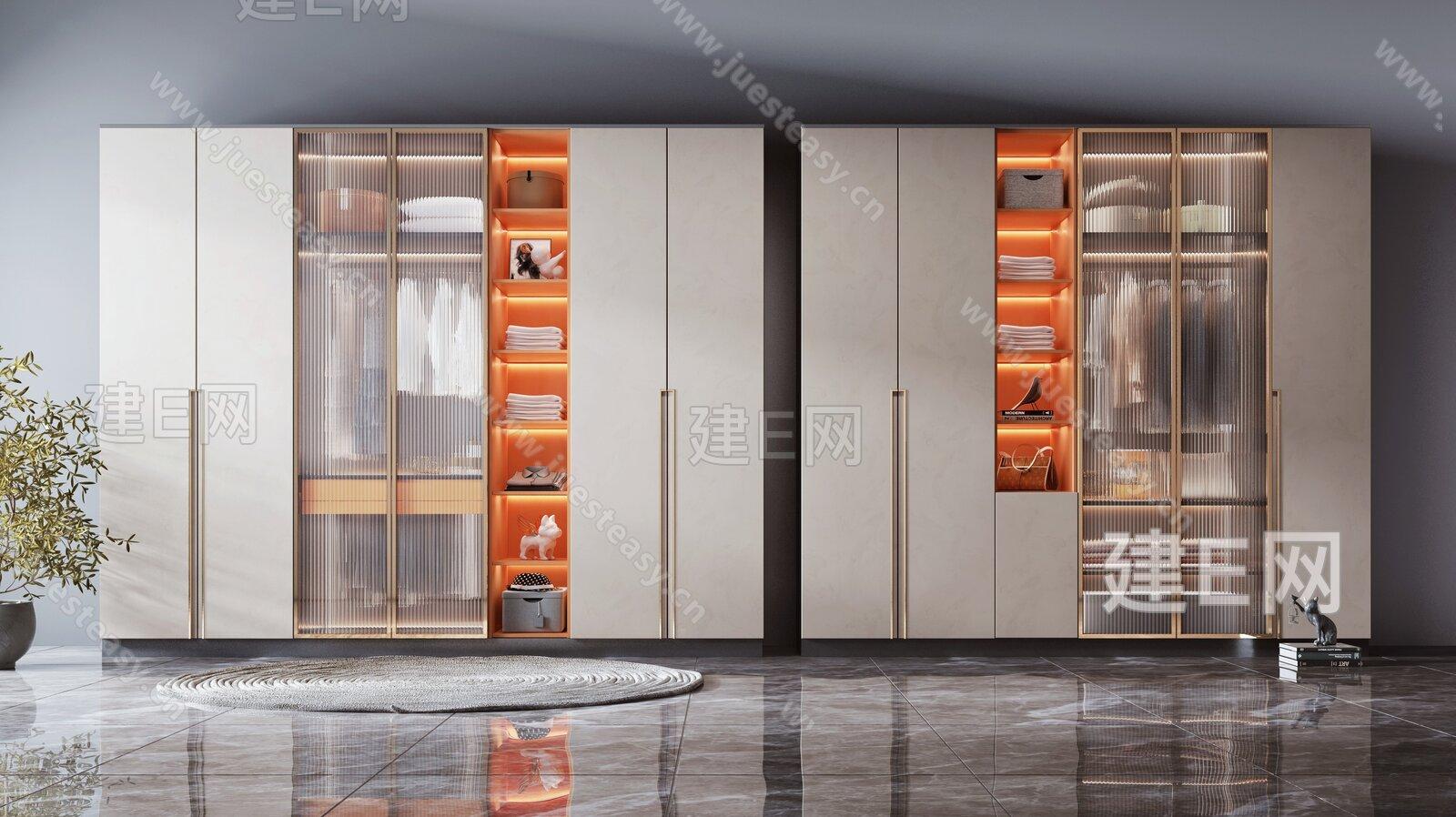 现代轻奢衣柜3d模型