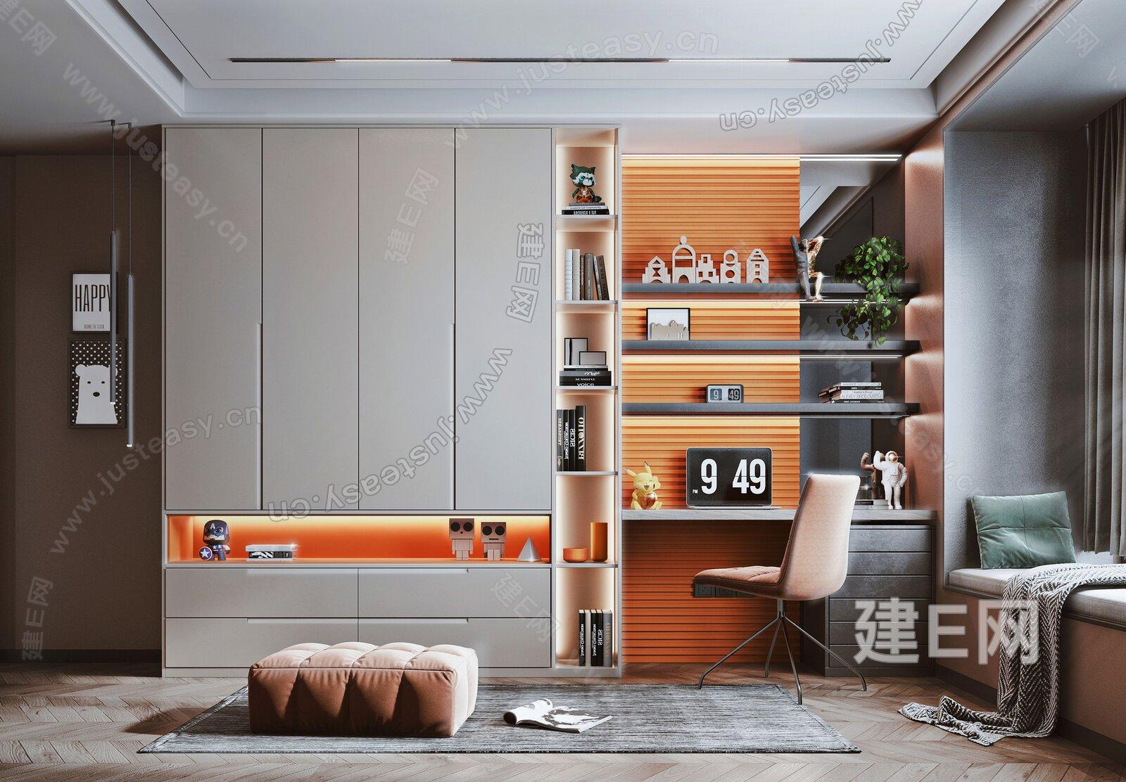 现代书房 3d模型