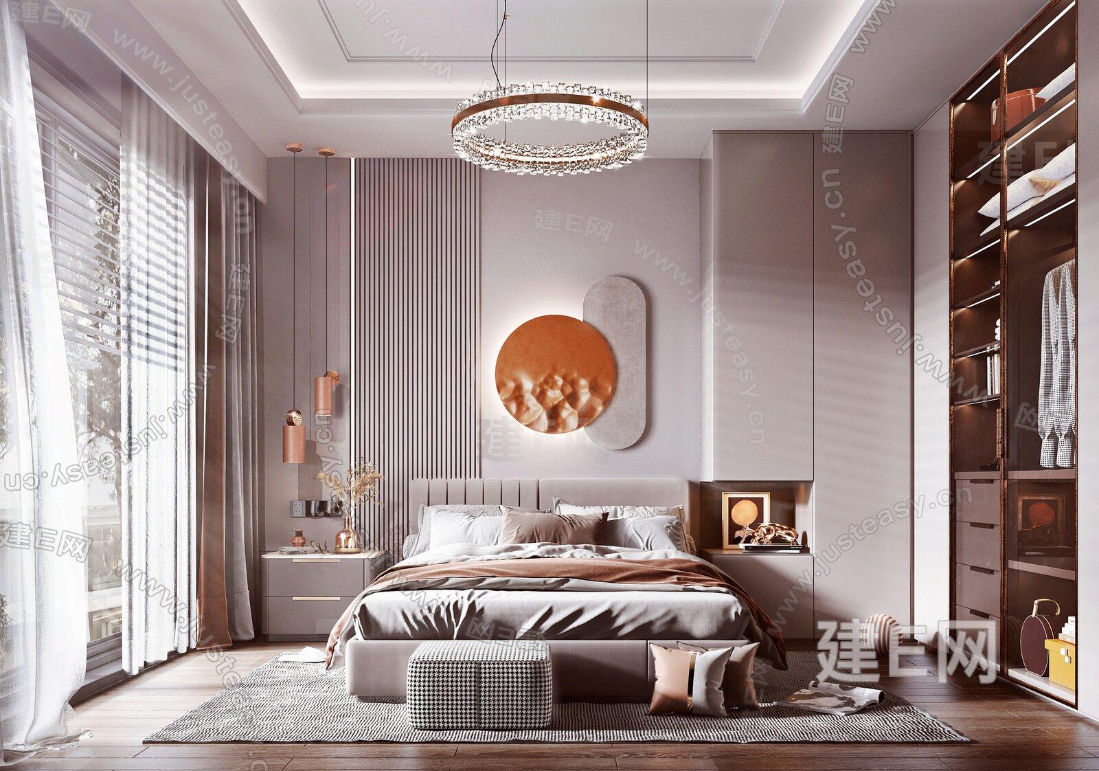 现代风格卧室3d模型