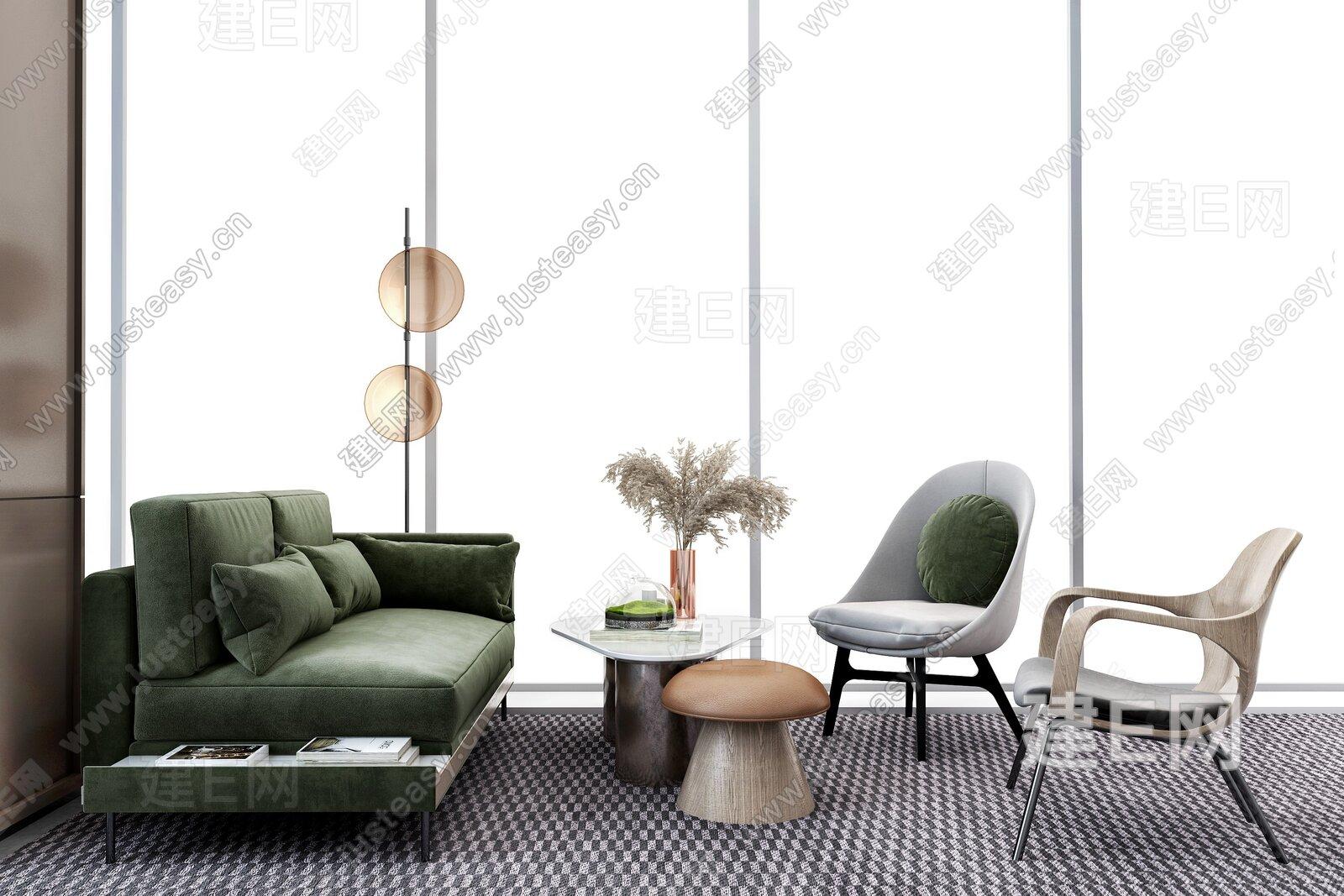 上海派尚设计 现代售楼处休息区3d模型
