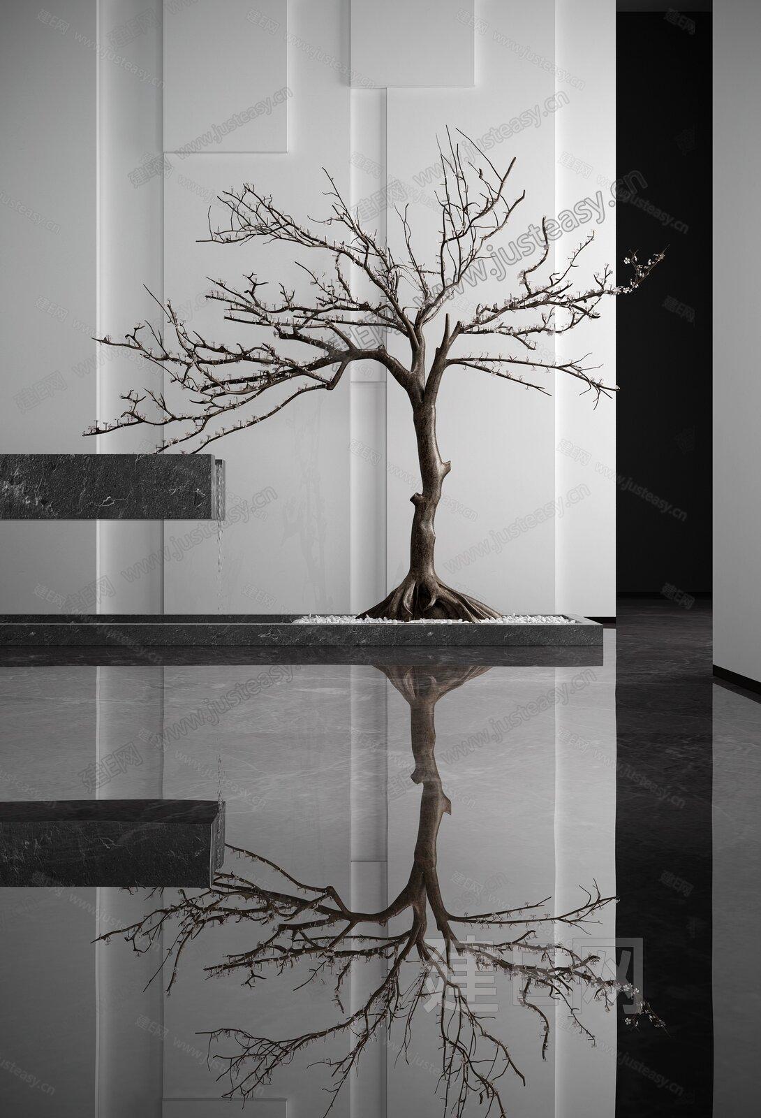 现代装饰树旱景3d模型