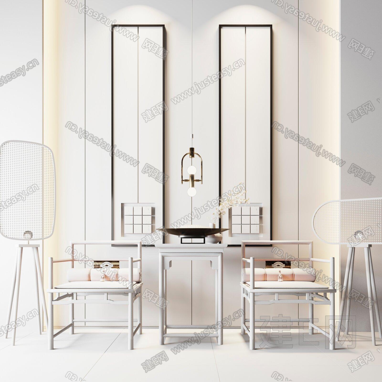 新中式单椅边几组合3d模型