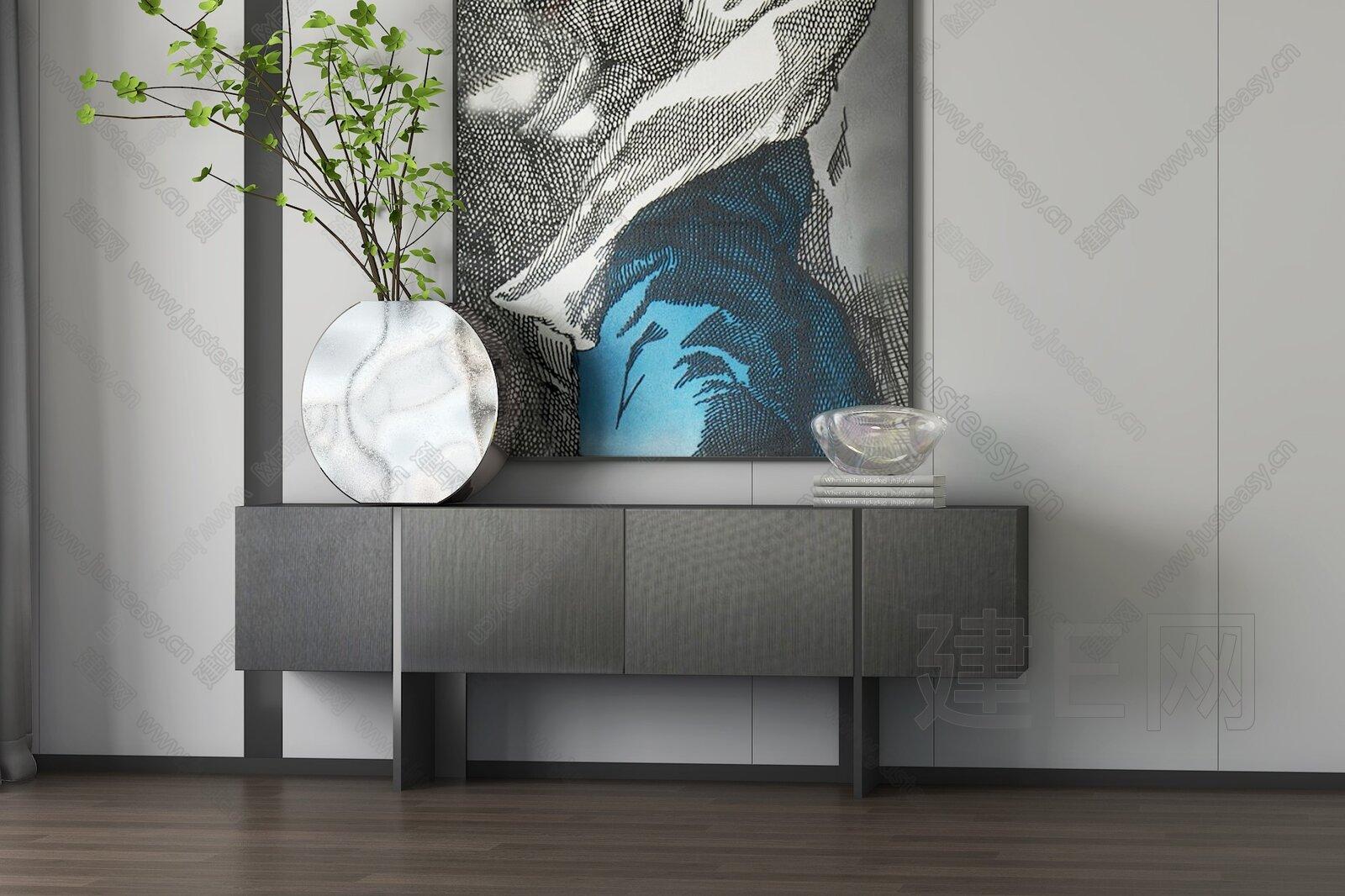 现代电视柜桌面摆件组合 3d模型