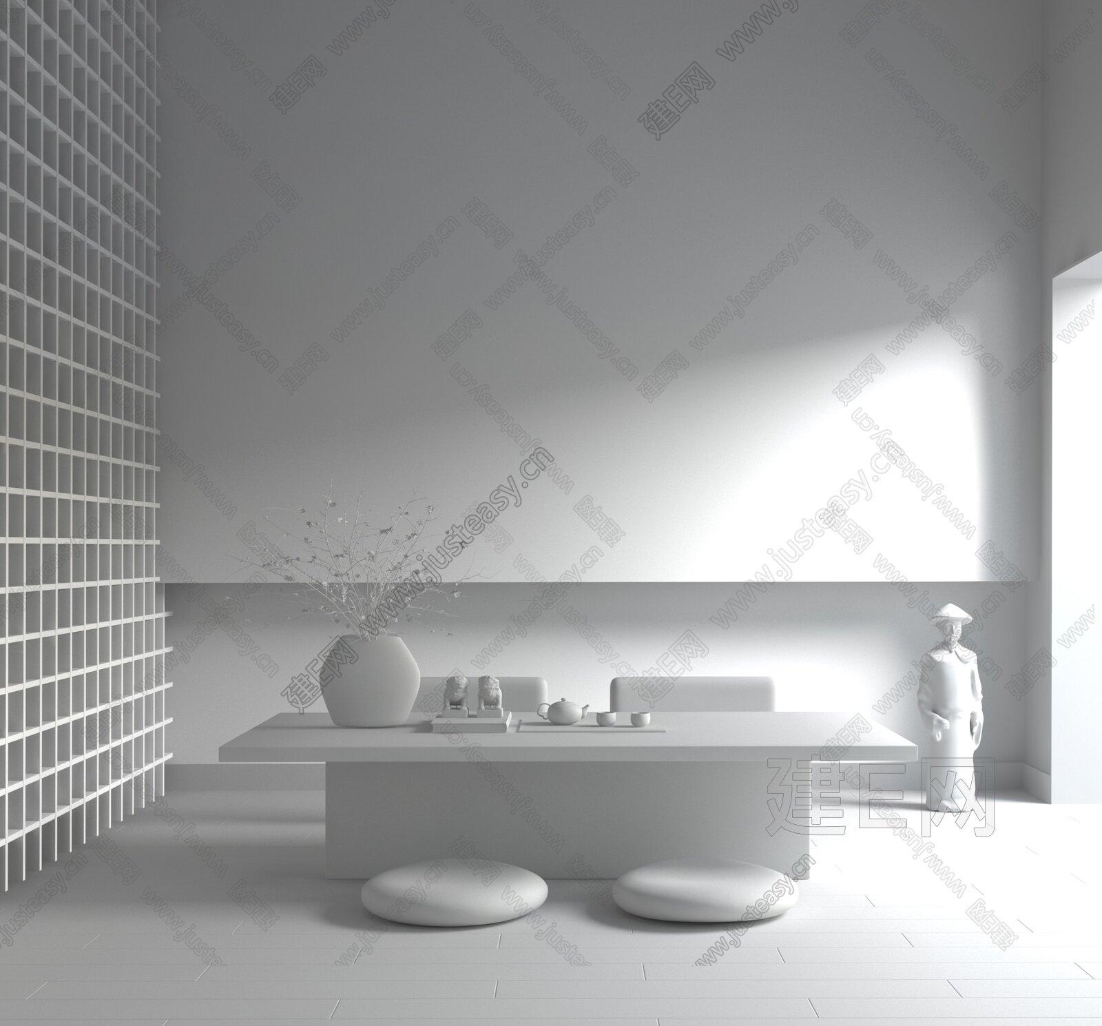 羽果设计 新中式禅意茶室3d模型