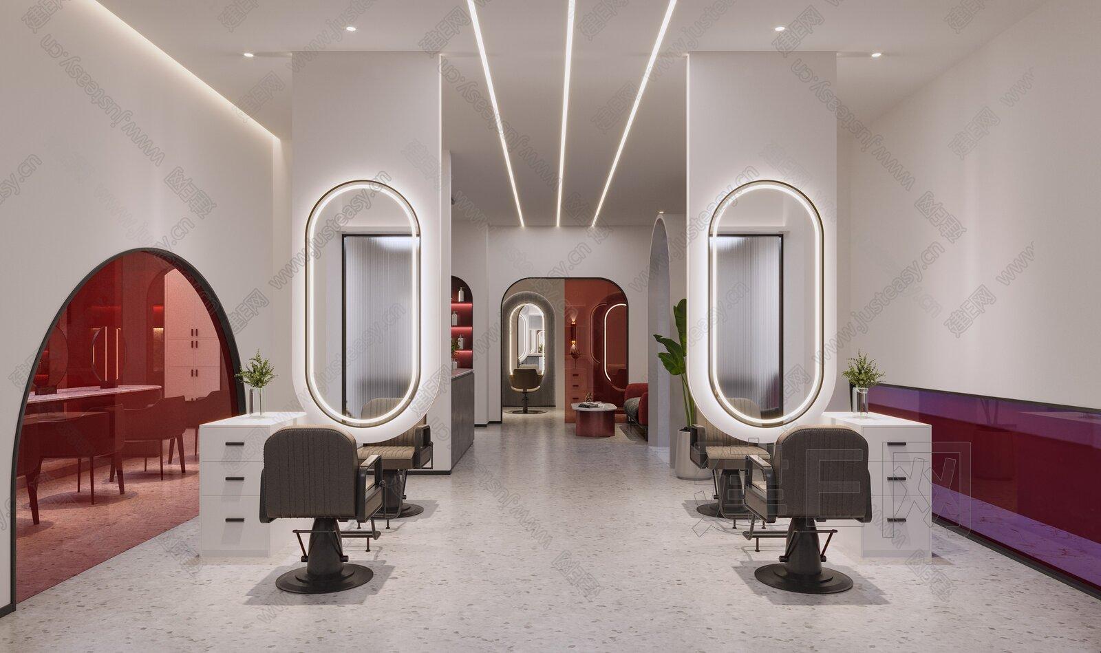现代理发店理发区3d模型