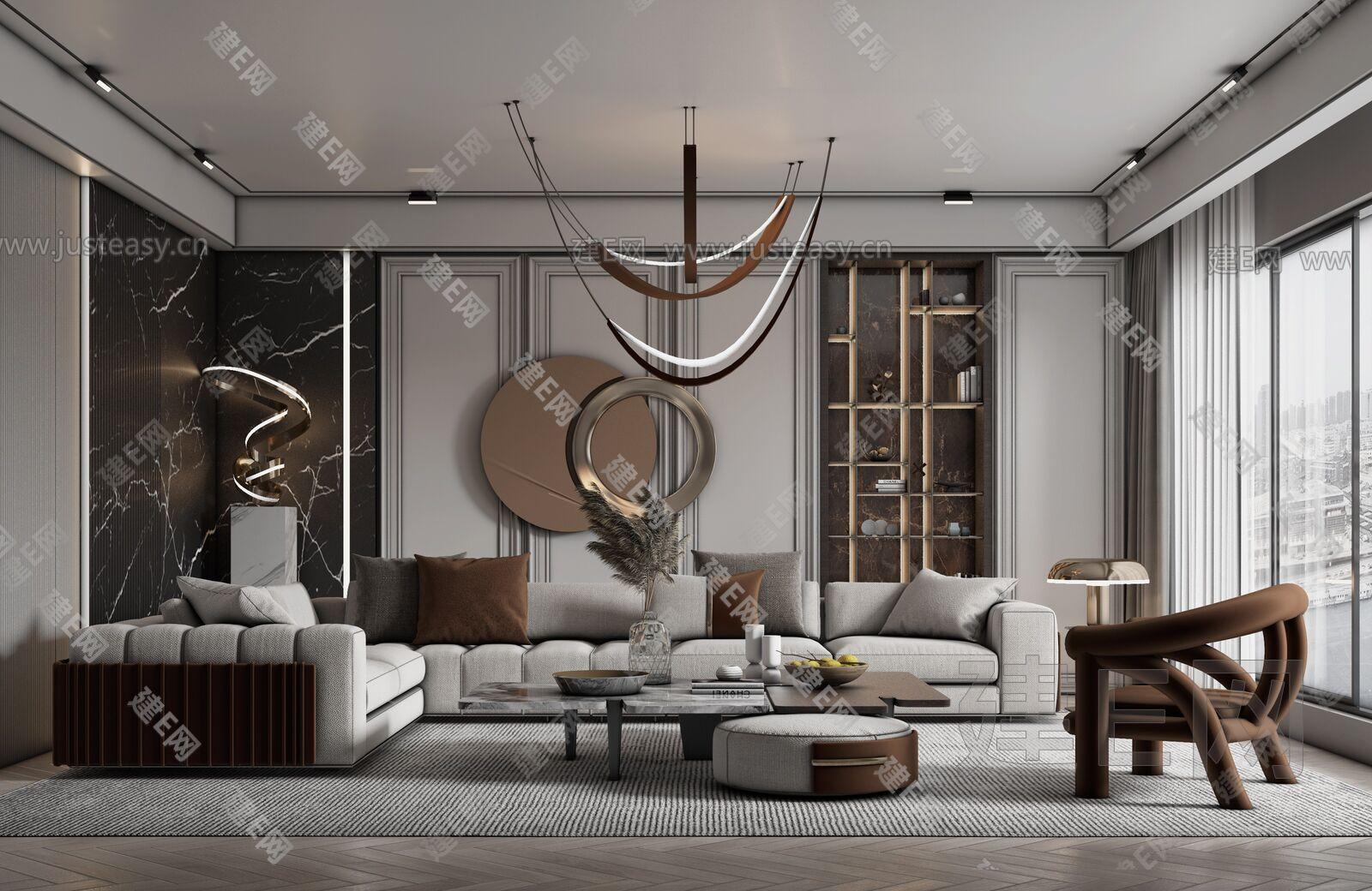 现代轻奢客厅sketchup模型