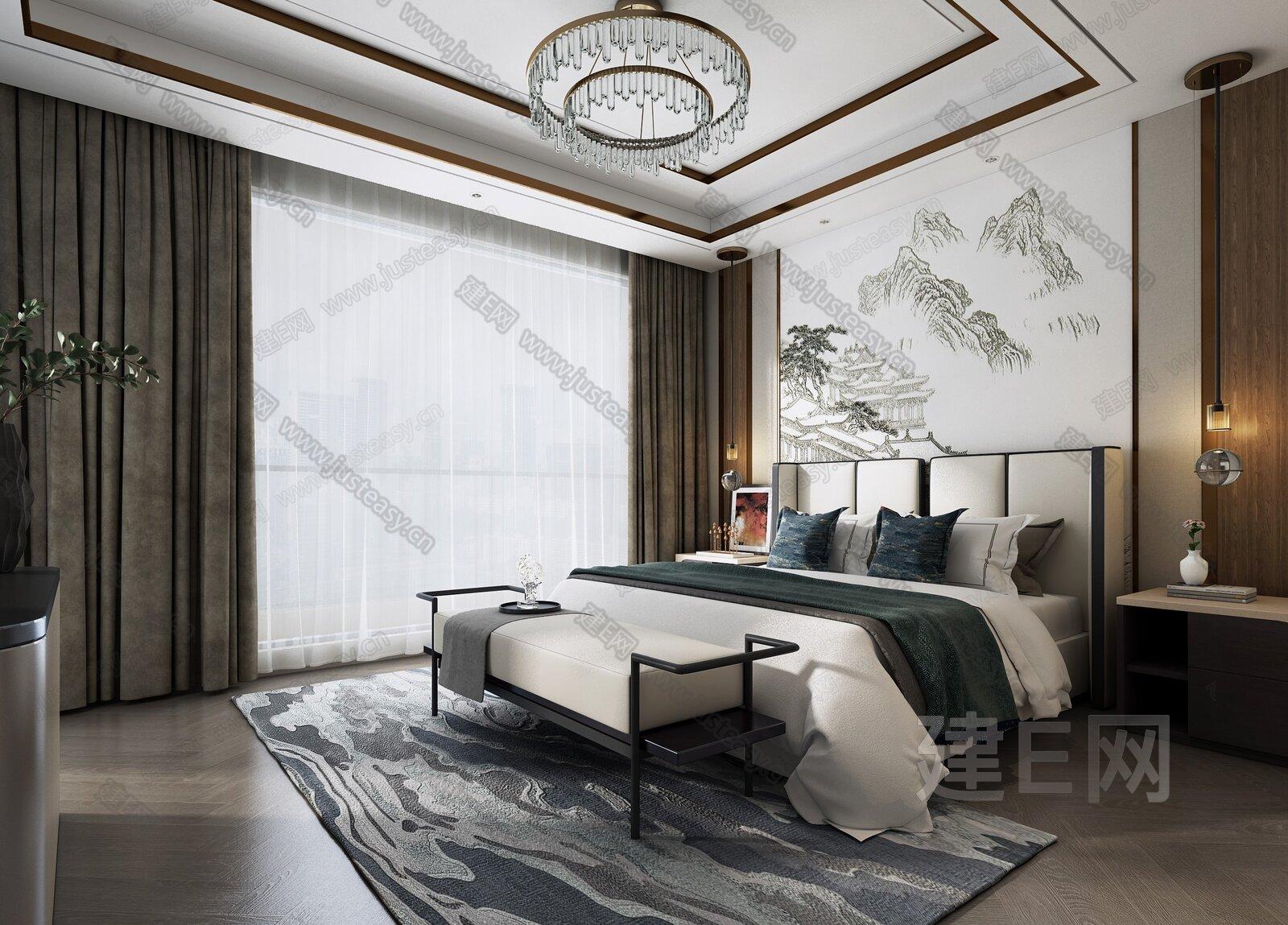 DK设计 新中式卧室3d模型