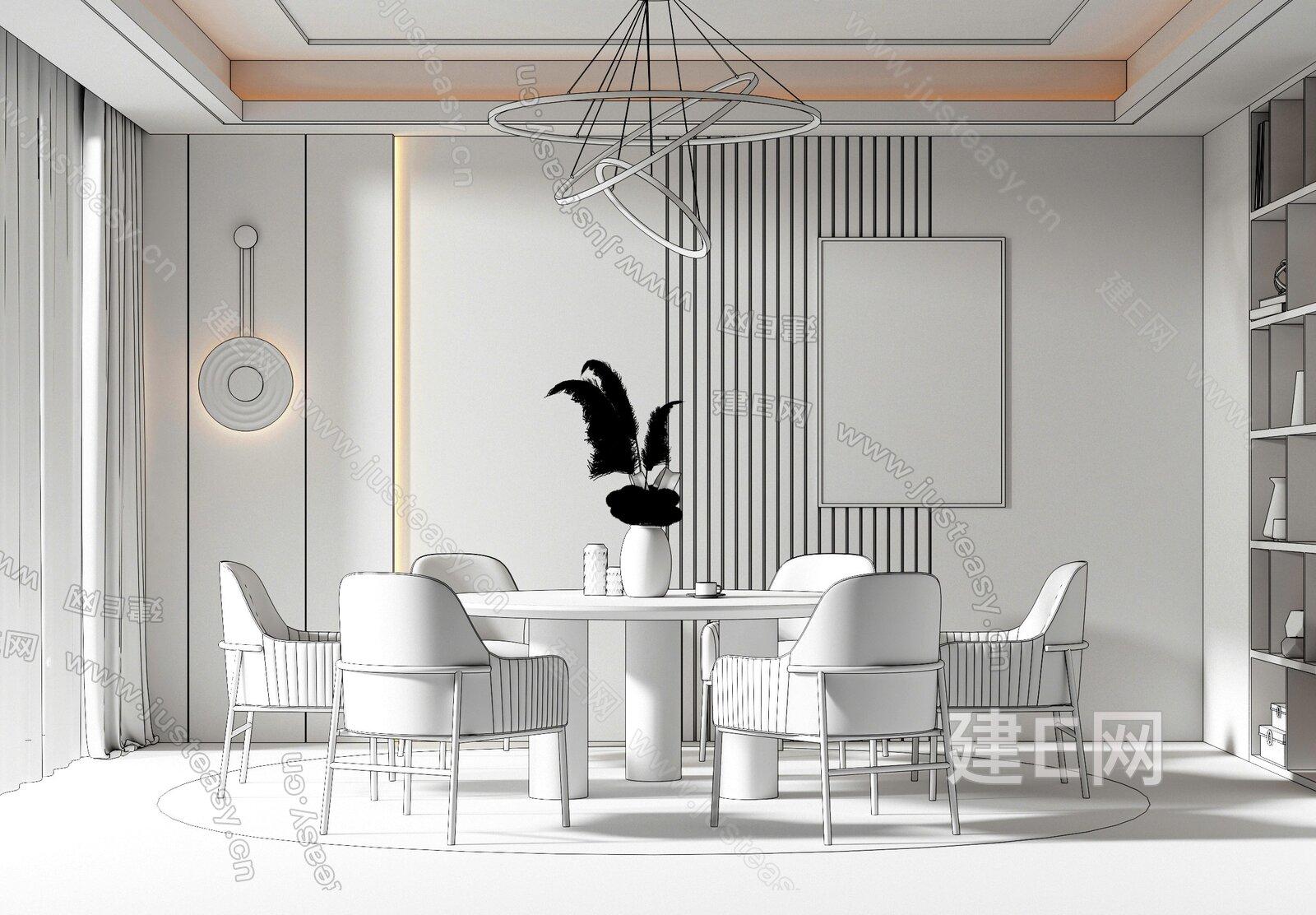 现代轻奢餐厅 3d模型
