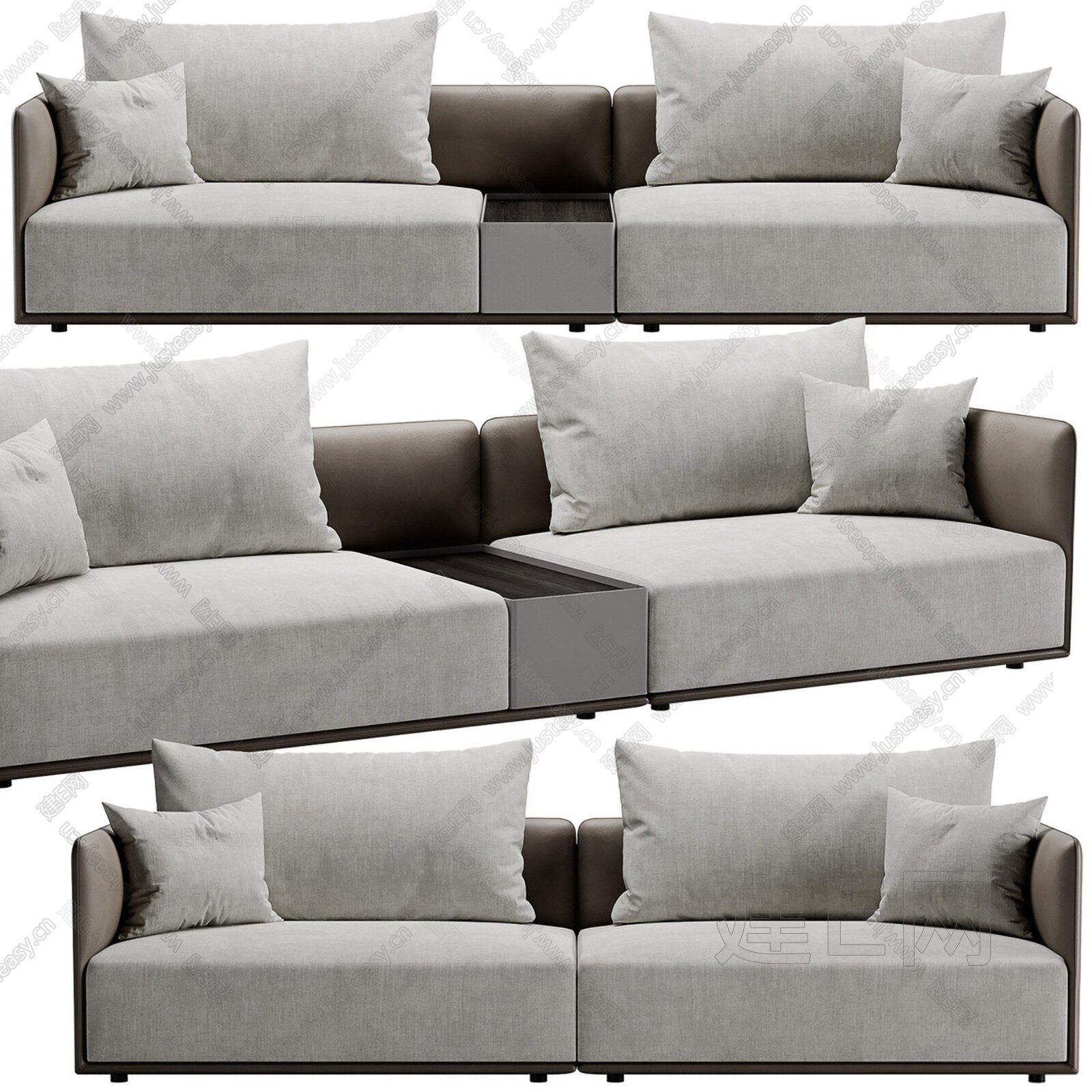 现代皮革布艺多人沙发3d模型