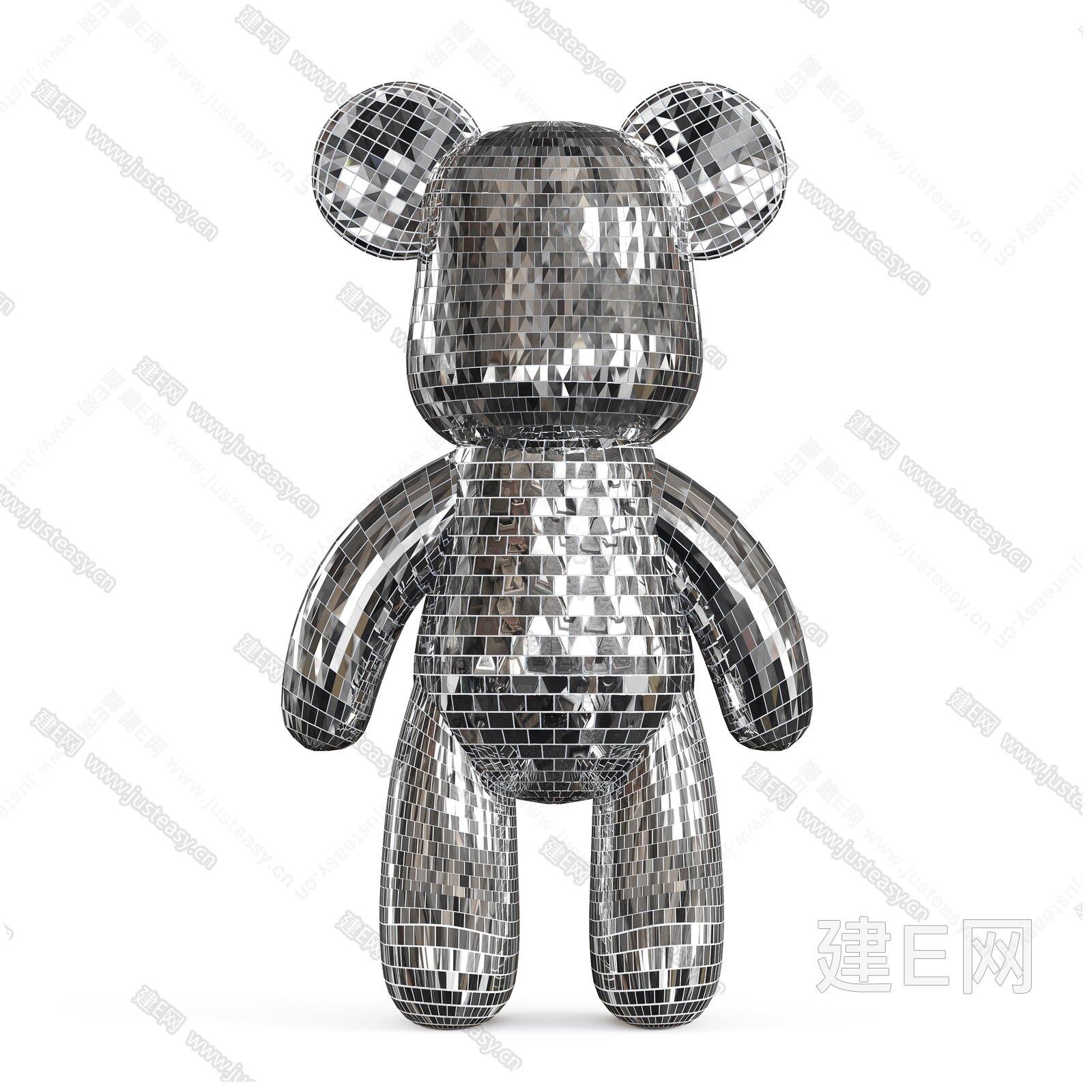 YOOWOW有窝 纯手工镶嵌创意卡通暴力熊 艺术装饰雕塑摆件 样板房桌面摆件3d模型