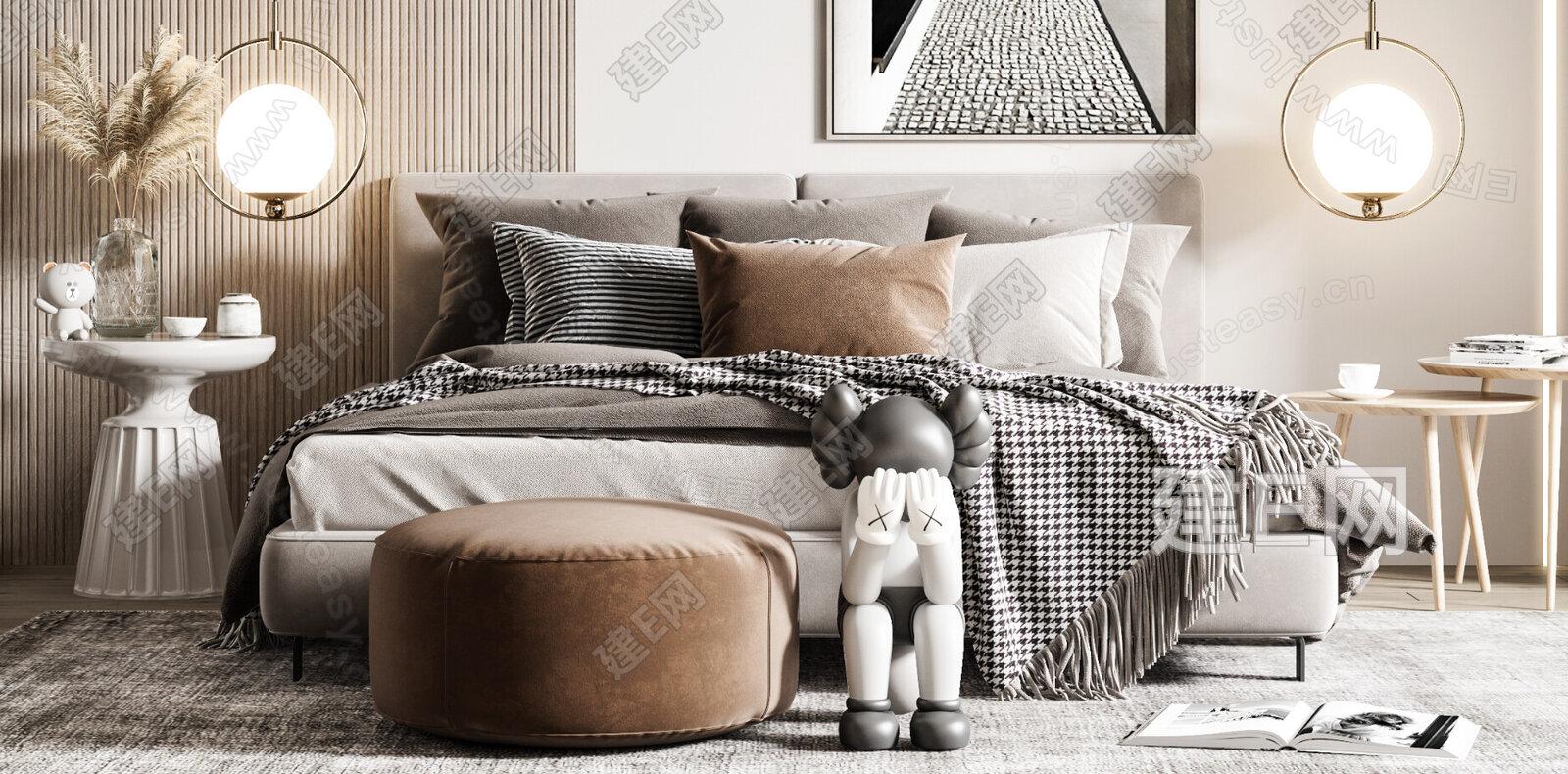 北欧卧室3d模型