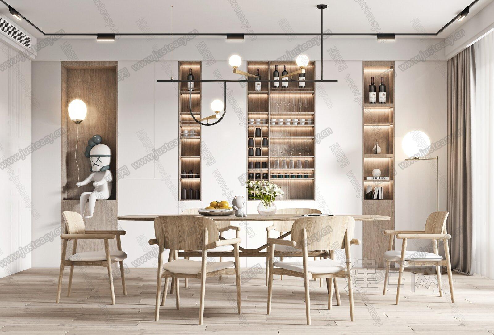 北欧餐厅3d模型
