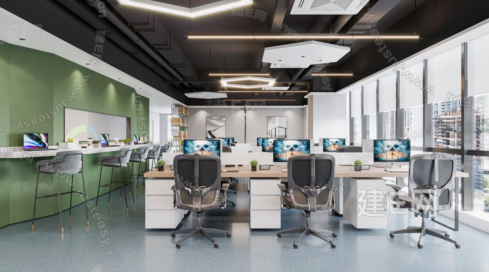 现代办公区3d模型