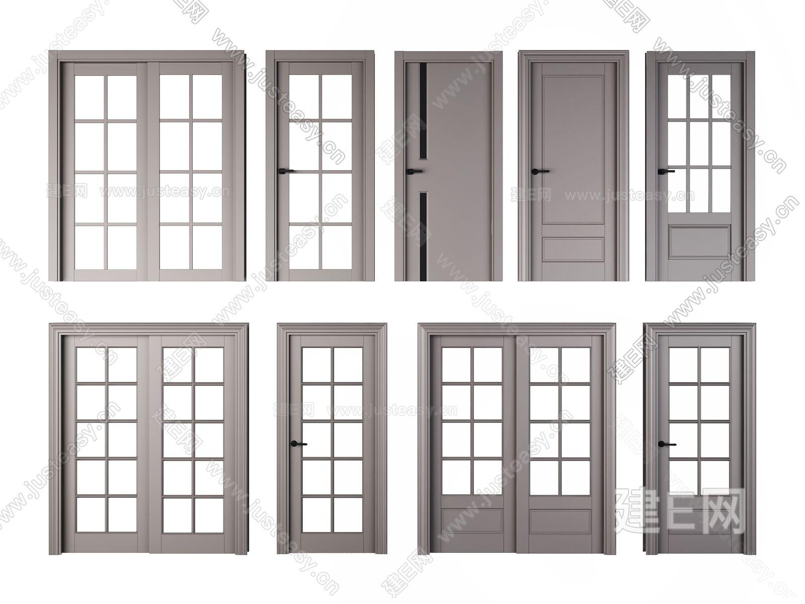 现代门组合sketchup模型