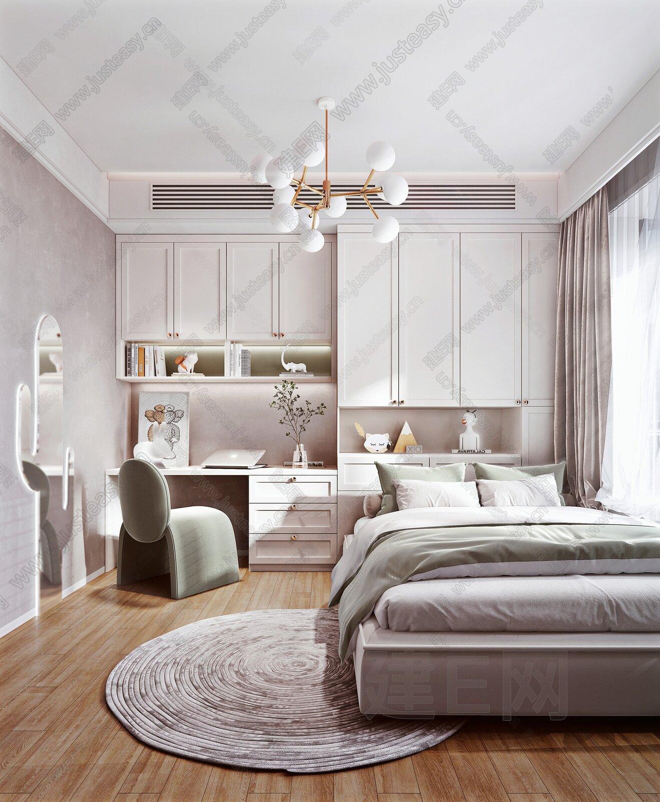 北欧小清新卧室3d模型
