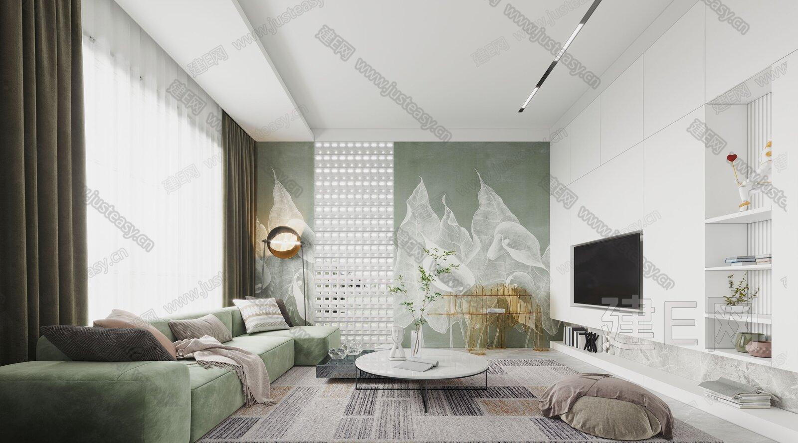 现代简约客厅 3d模型
