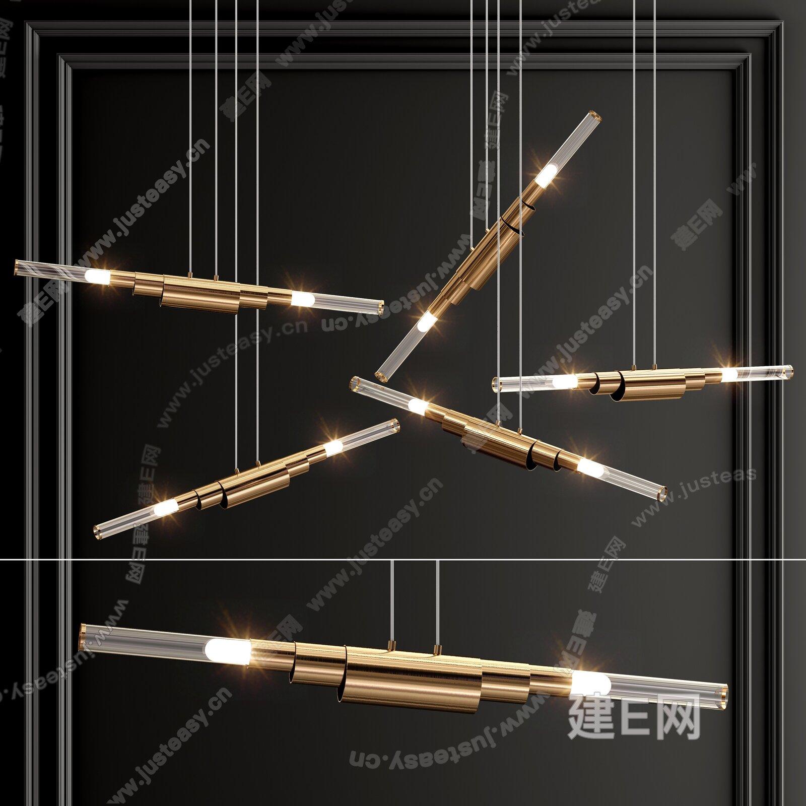 Horizontal 现代金属玻璃吊灯3d模型