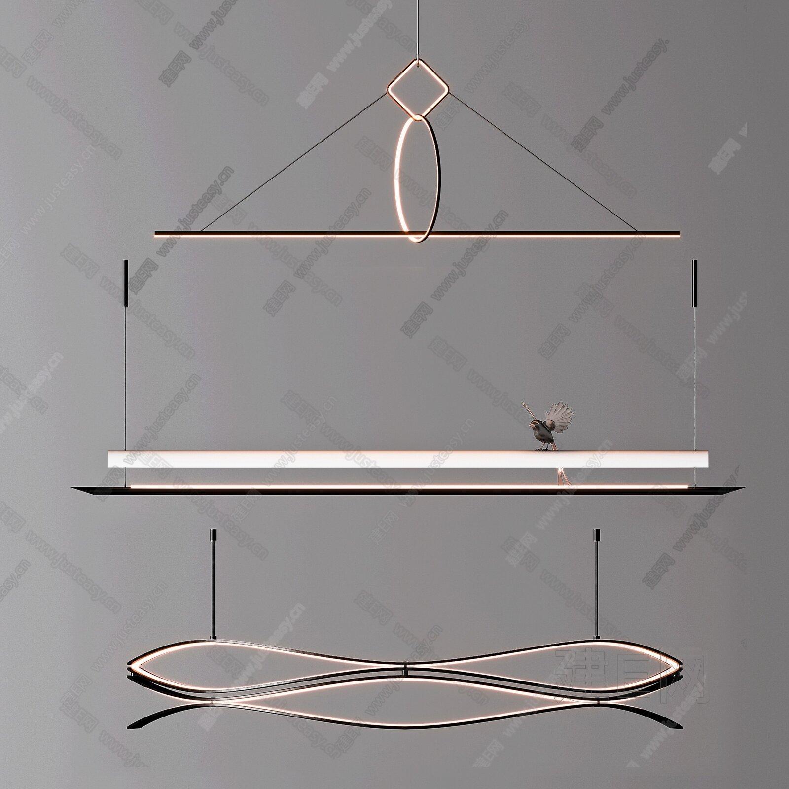 现代吊灯组合3d模型