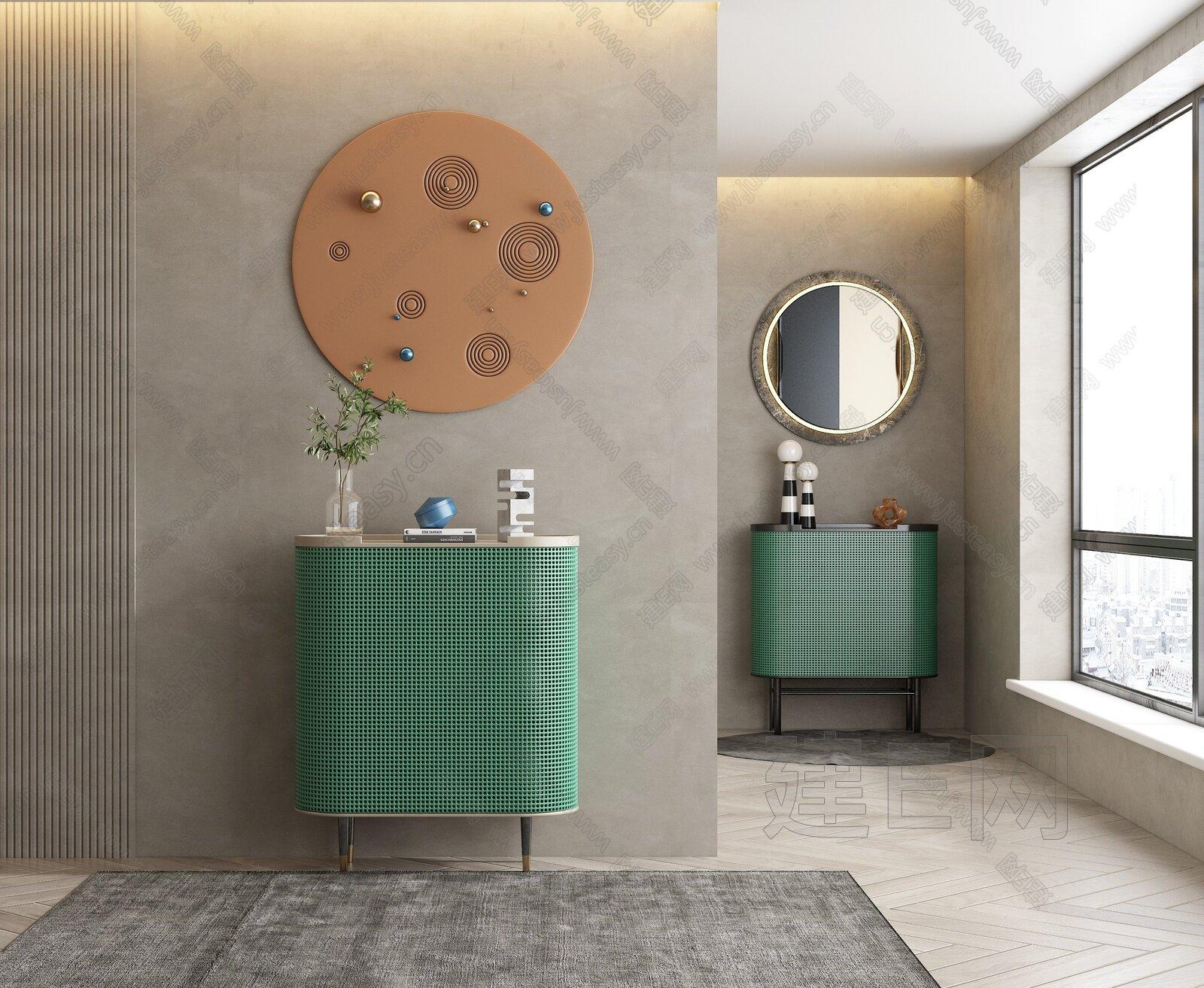 现代镂空玄关柜组合3d模型