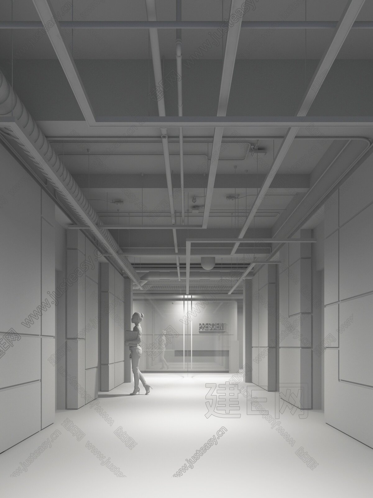 现代科技感电梯厅3d模型