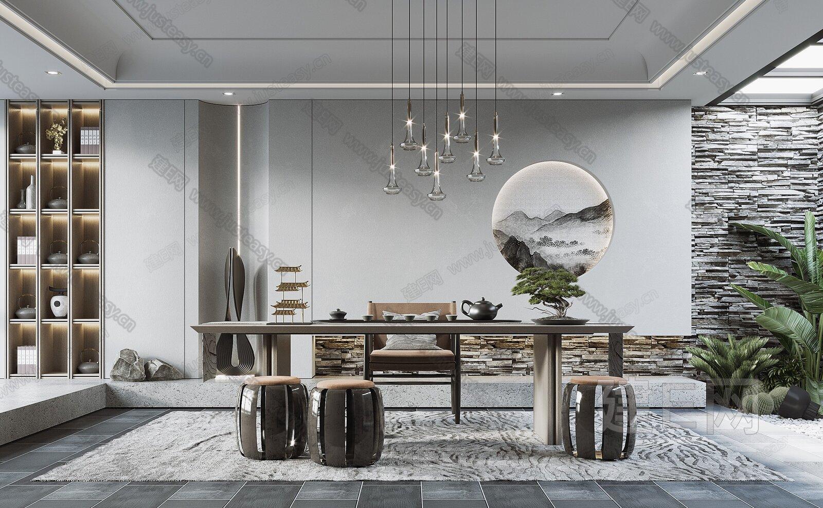 现代茶室3d模型