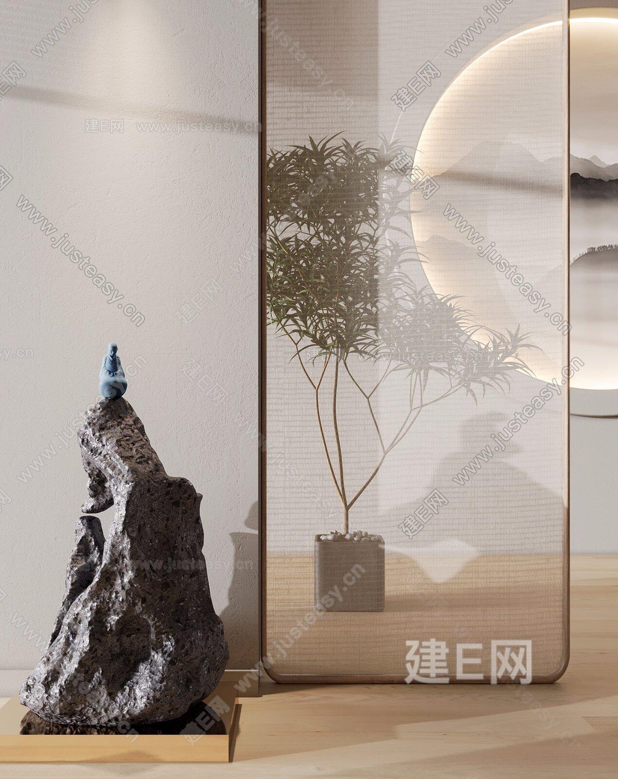 新中式禅意假山雕塑3d模型