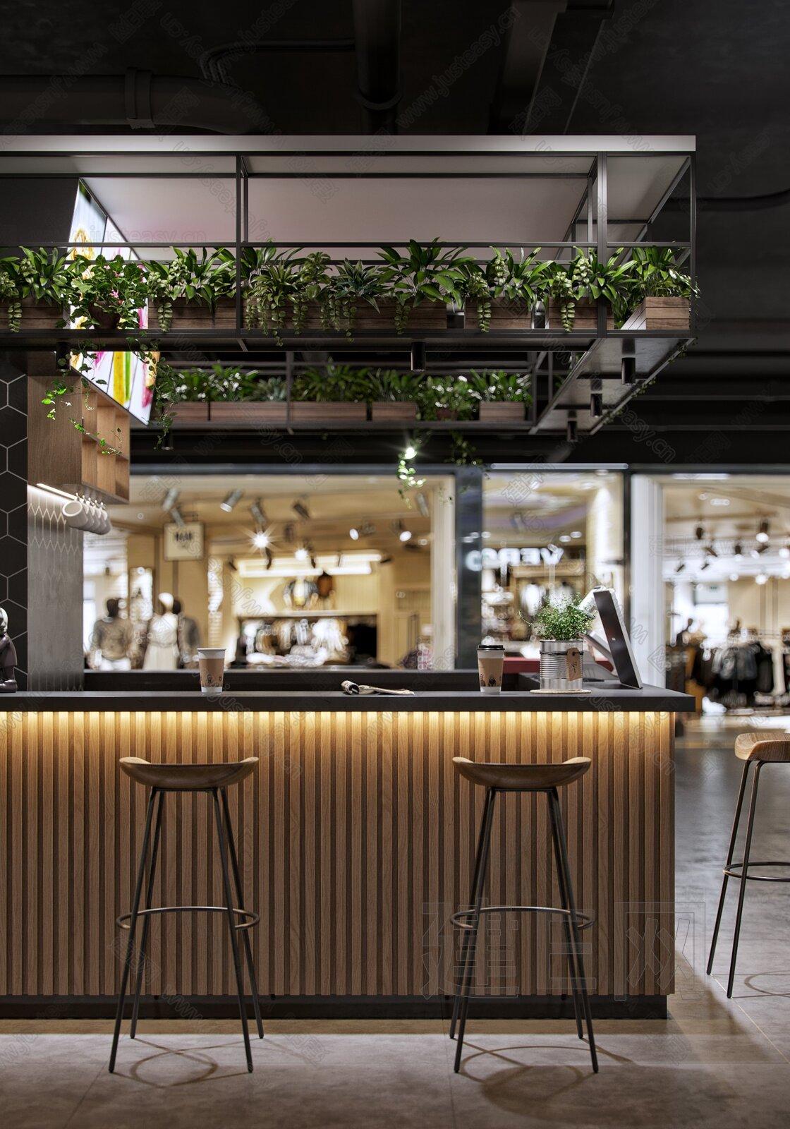 现代奶茶店3d模型