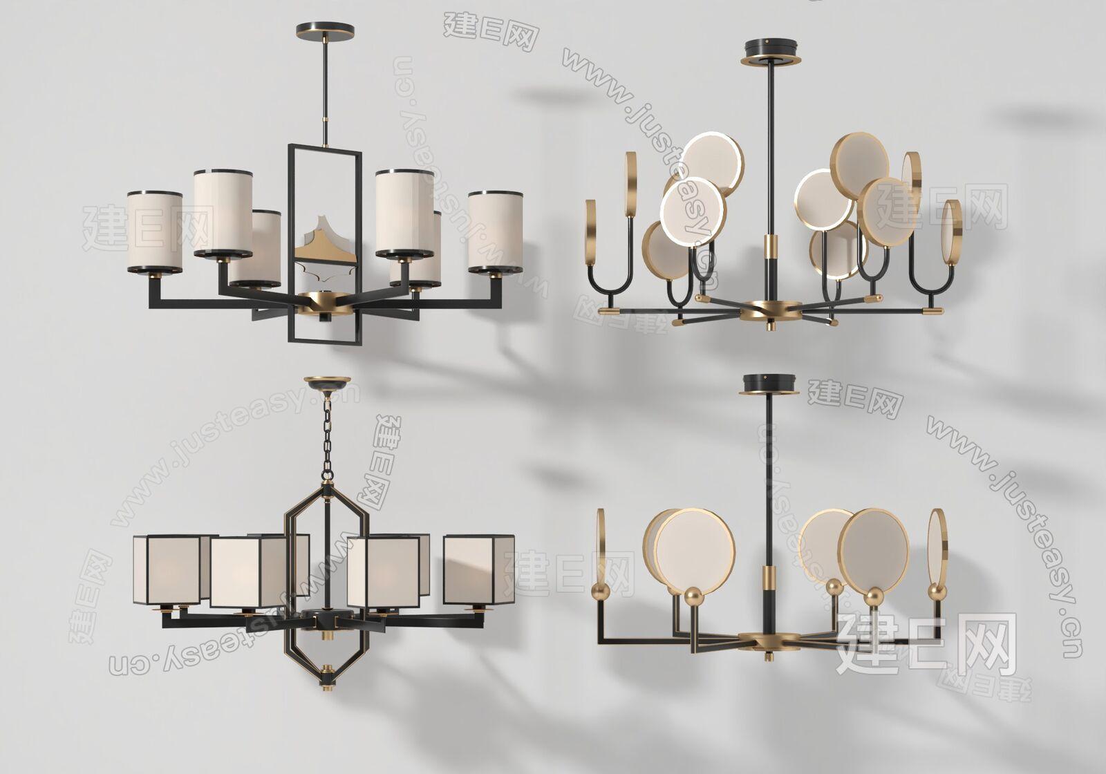 新中式吊灯组合sketchup模型