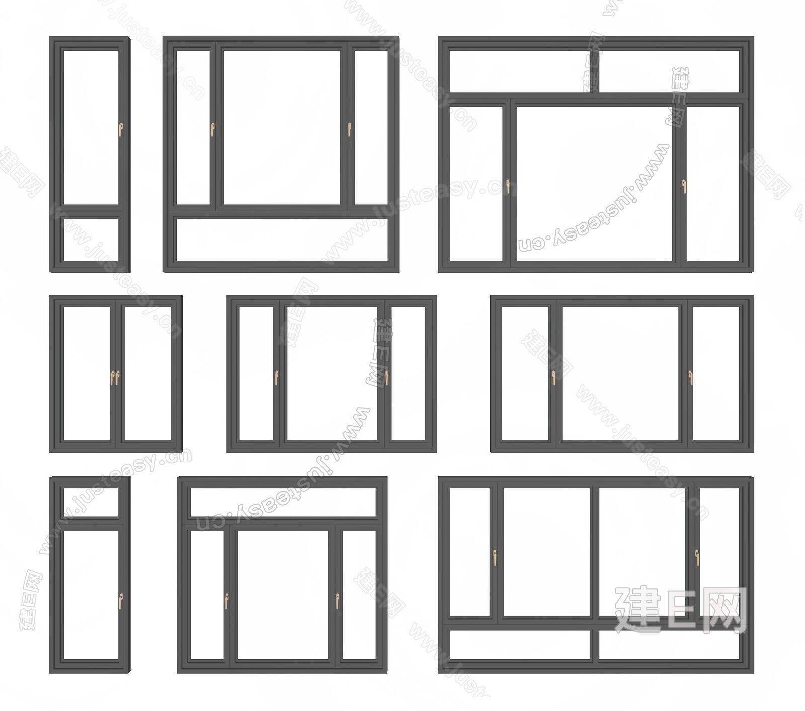现代窗户组合sketchup模型